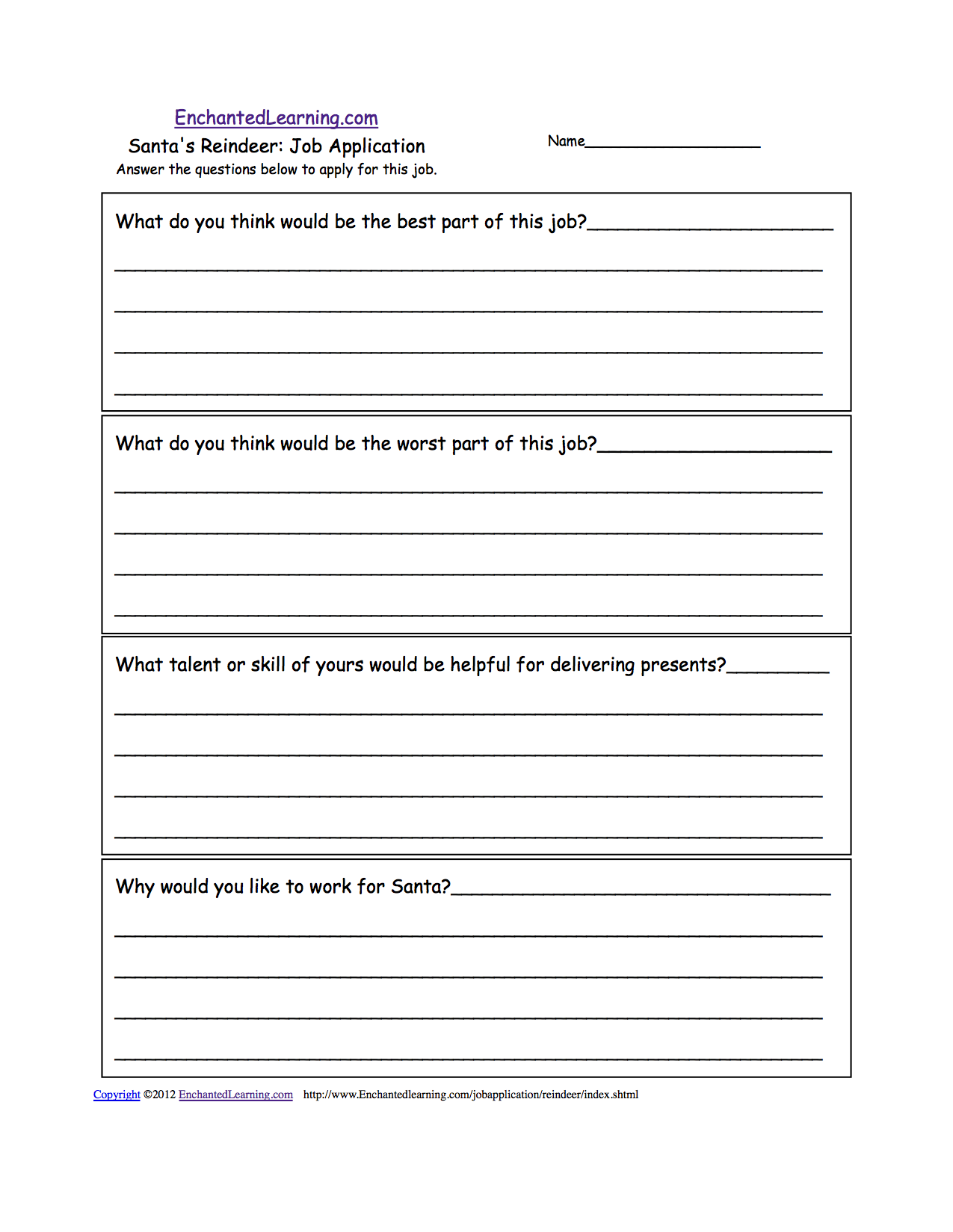 Mock Job Application Writing Prompts to Print: EnchantedLearning.com