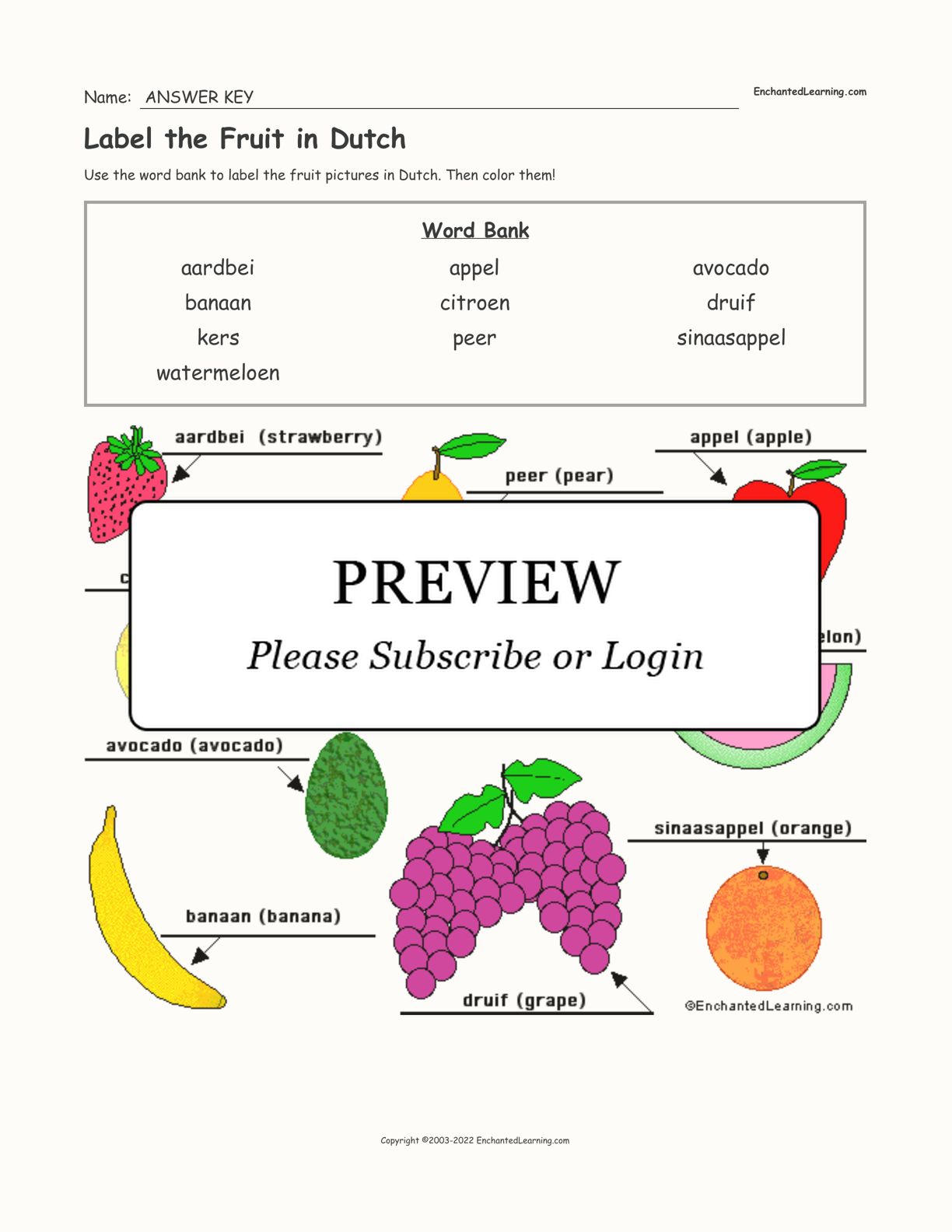 Label the Fruit in Dutch interactive worksheet page 2