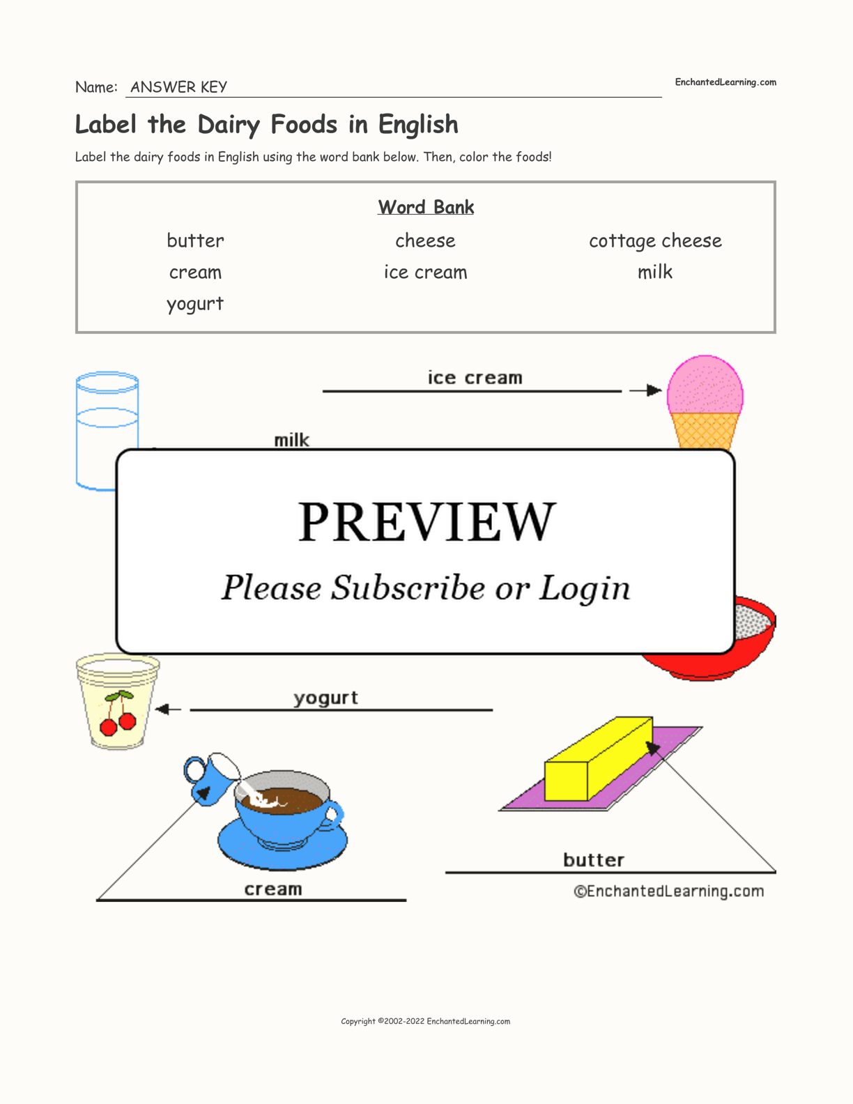 Label the Dairy Foods in English interactive worksheet page 2