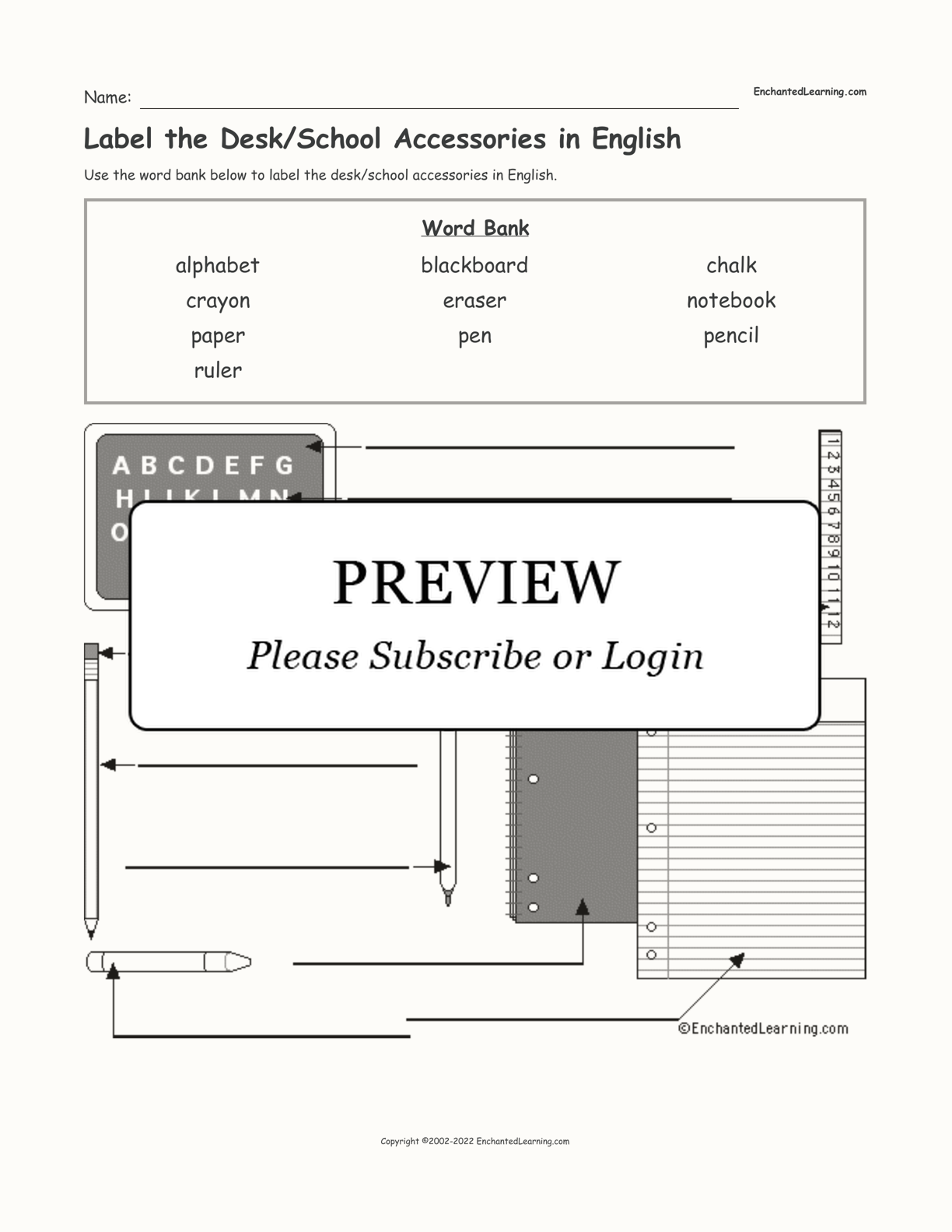Label the Desk/School Accessories in English interactive worksheet page 1