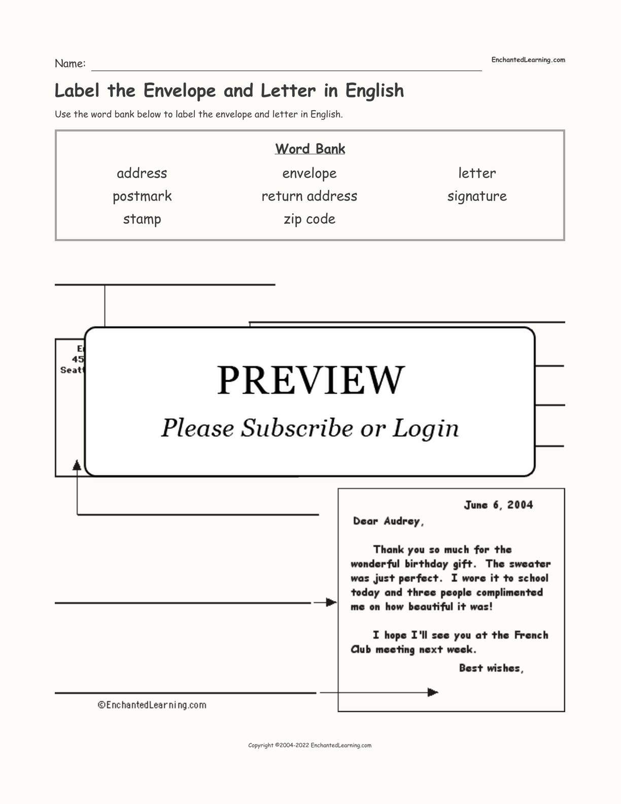Label the Envelope and Letter in English interactive worksheet page 1