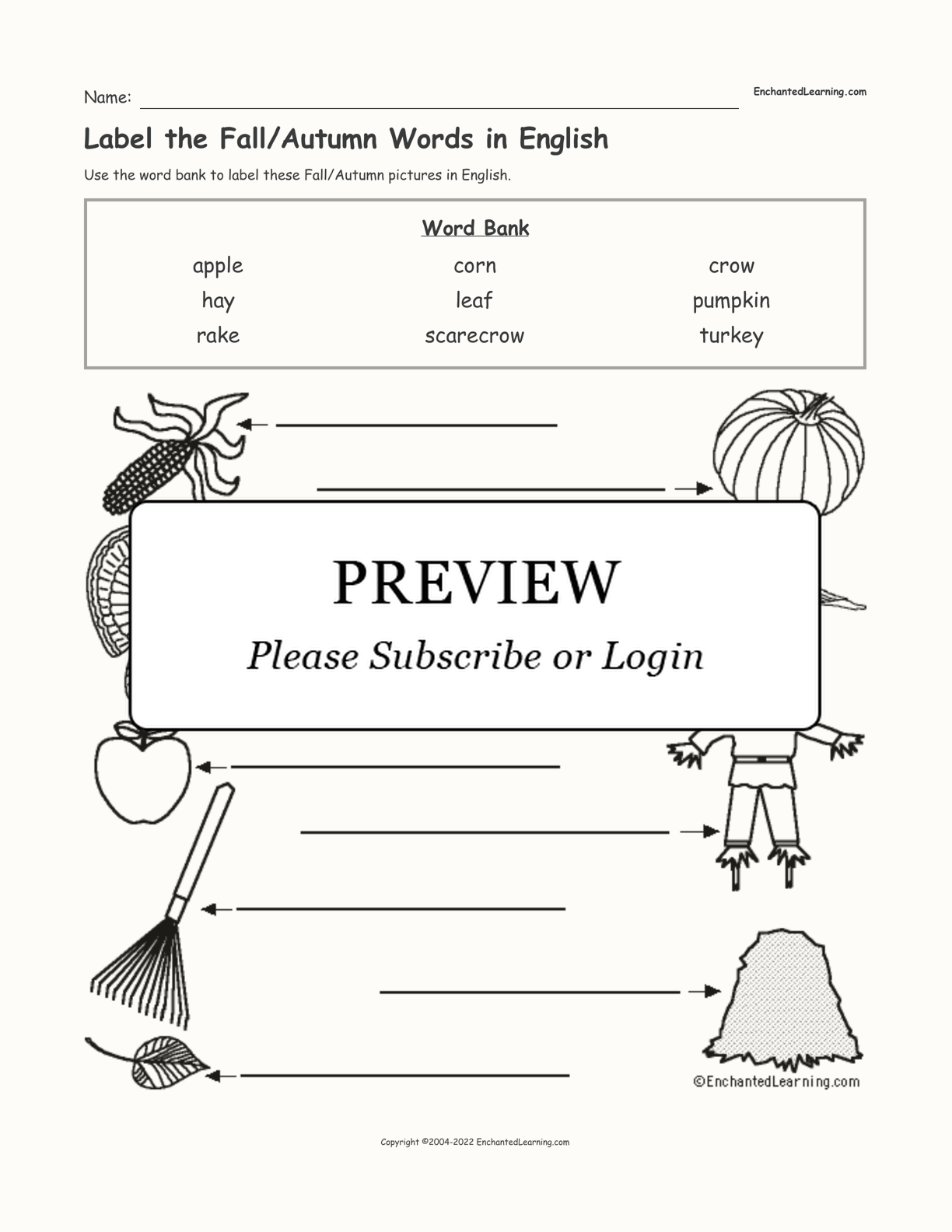 Label the Fall/Autumn Words in English interactive worksheet page 1