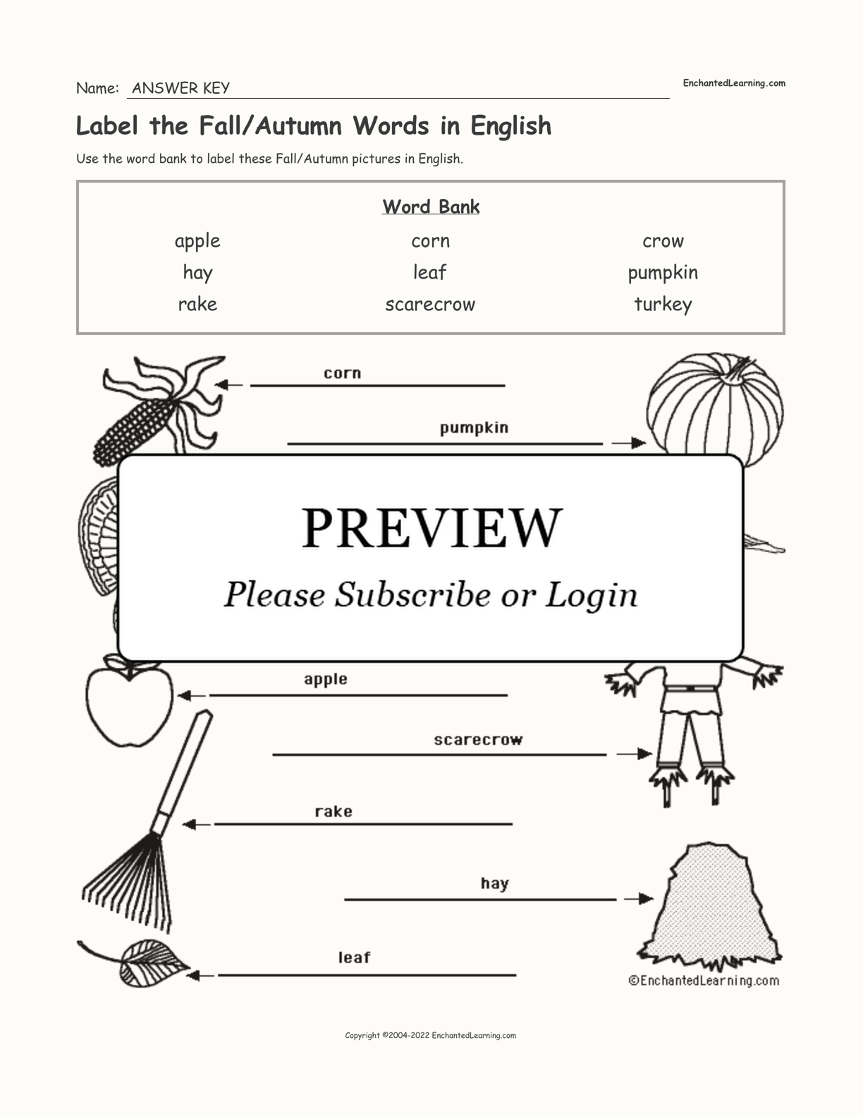 Label the Fall/Autumn Words in English interactive worksheet page 2