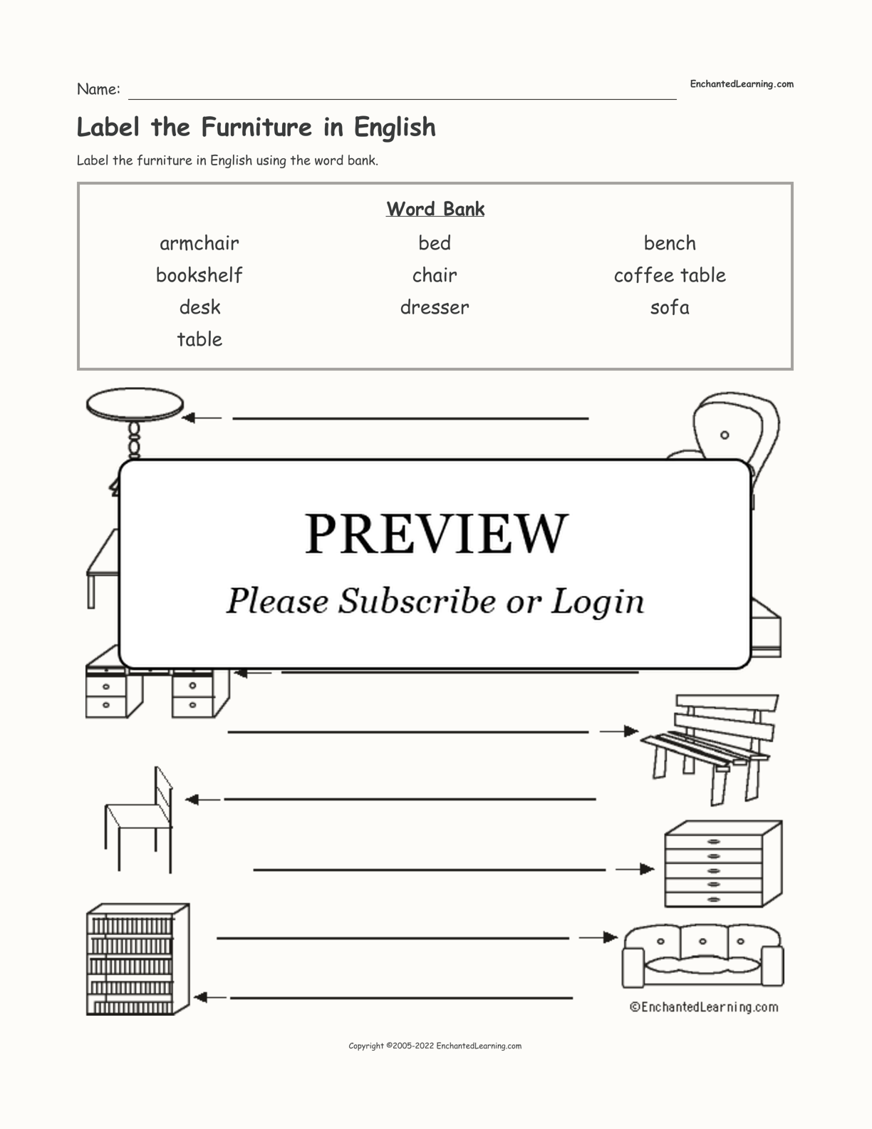 Label the Furniture in English interactive worksheet page 1