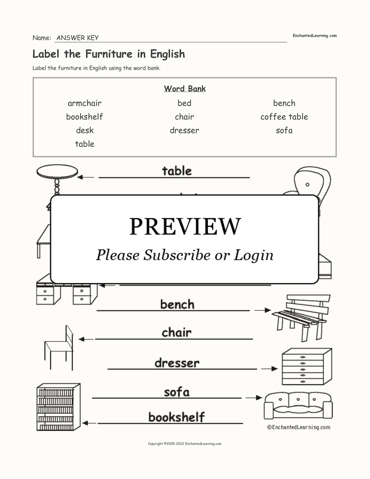 Label the Furniture in English interactive worksheet page 2