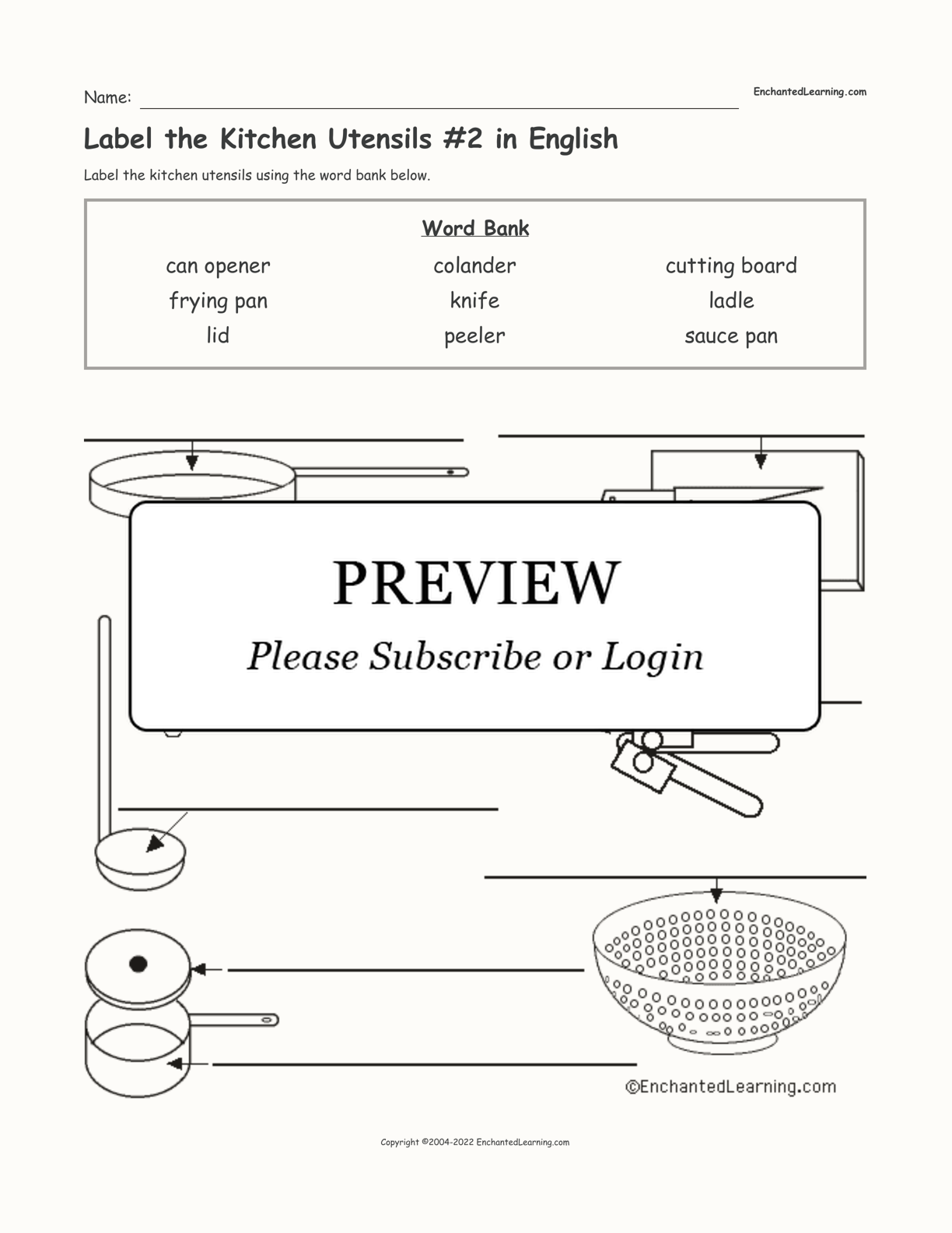 Label the Kitchen Utensils #2 in English interactive worksheet page 1