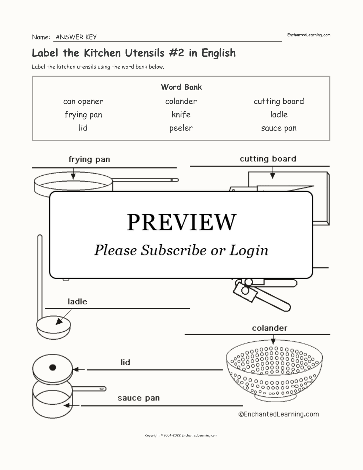 Label the Kitchen Utensils #2 in English interactive worksheet page 2