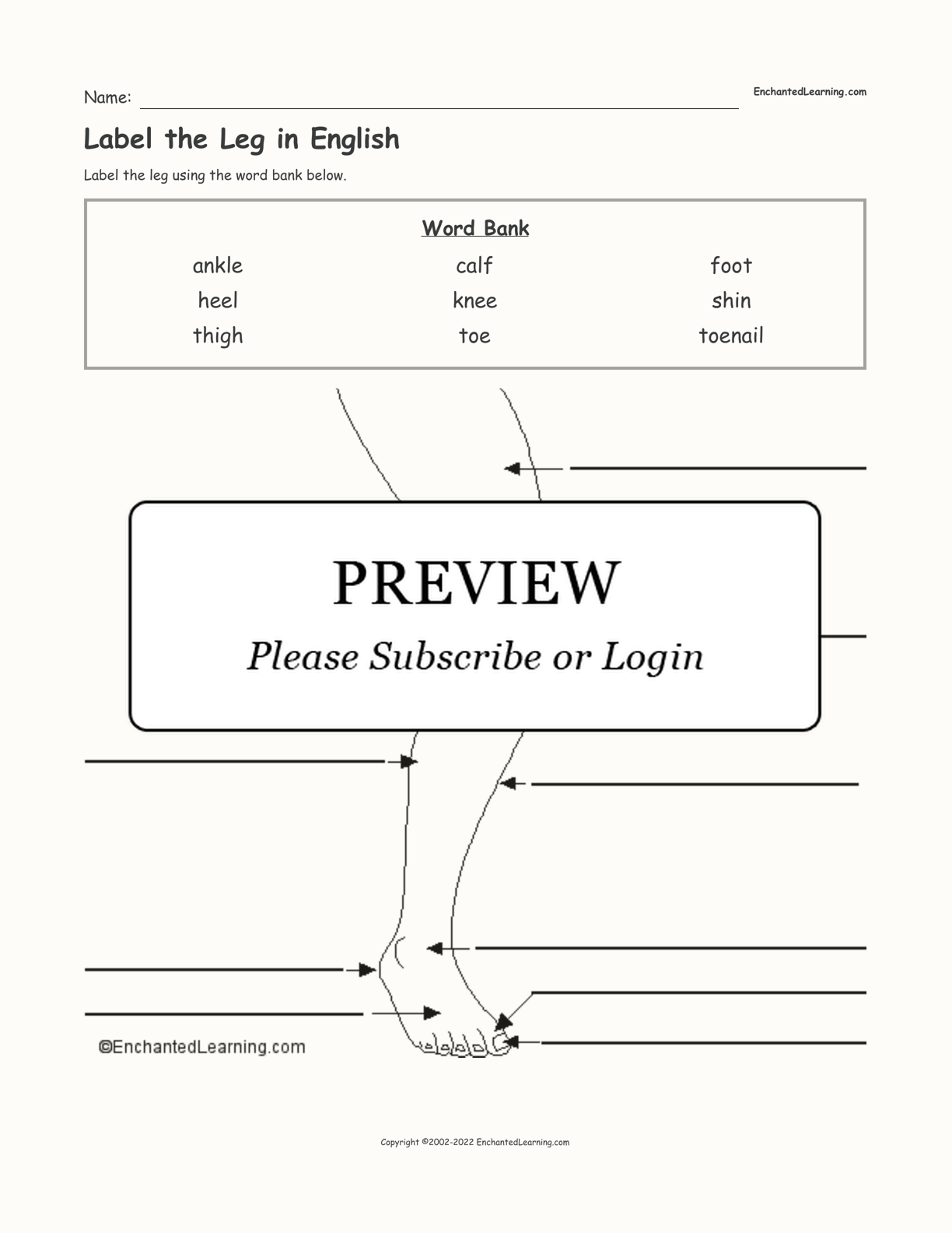 Label the Leg in English interactive worksheet page 1