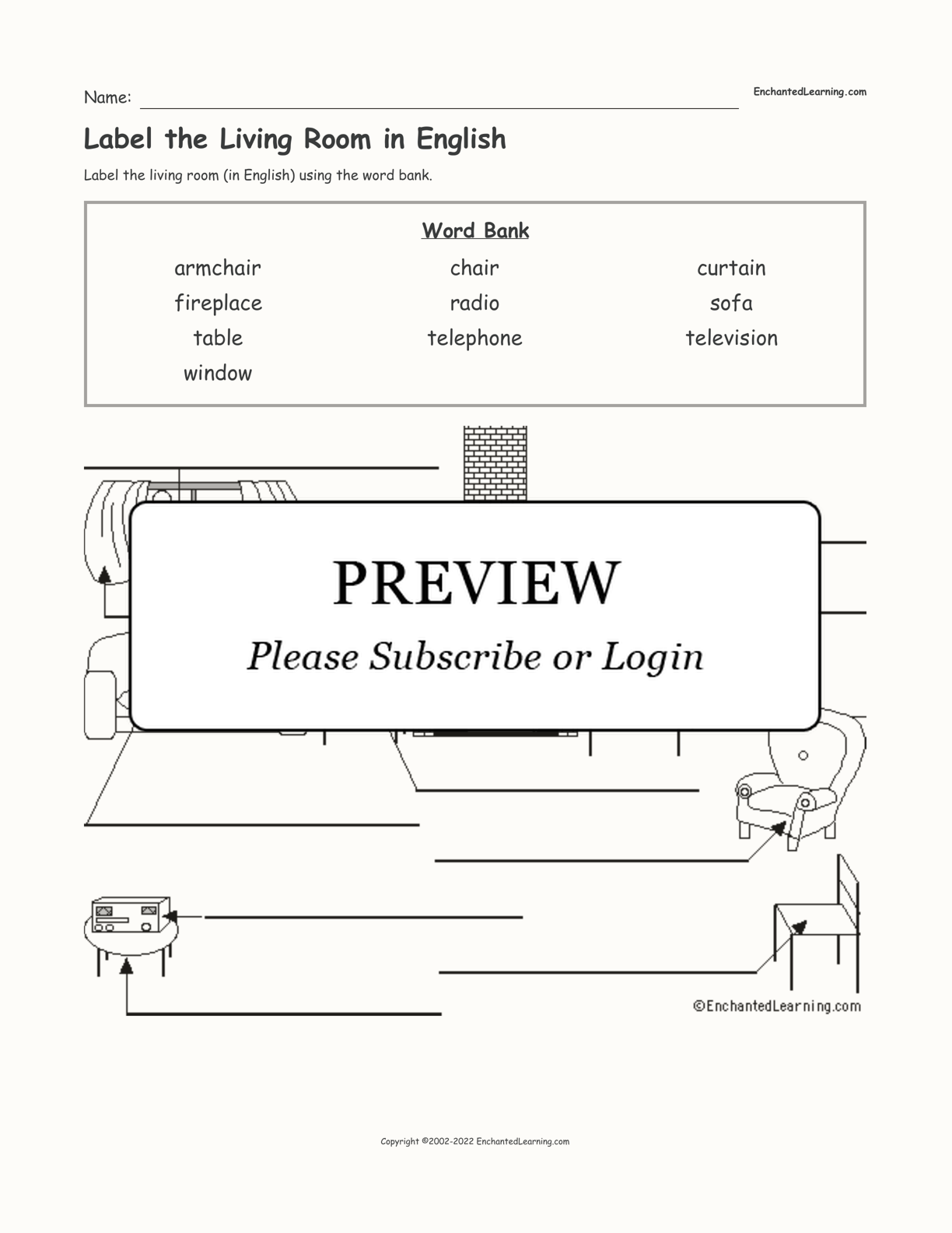 Label the Living Room in English interactive worksheet page 1