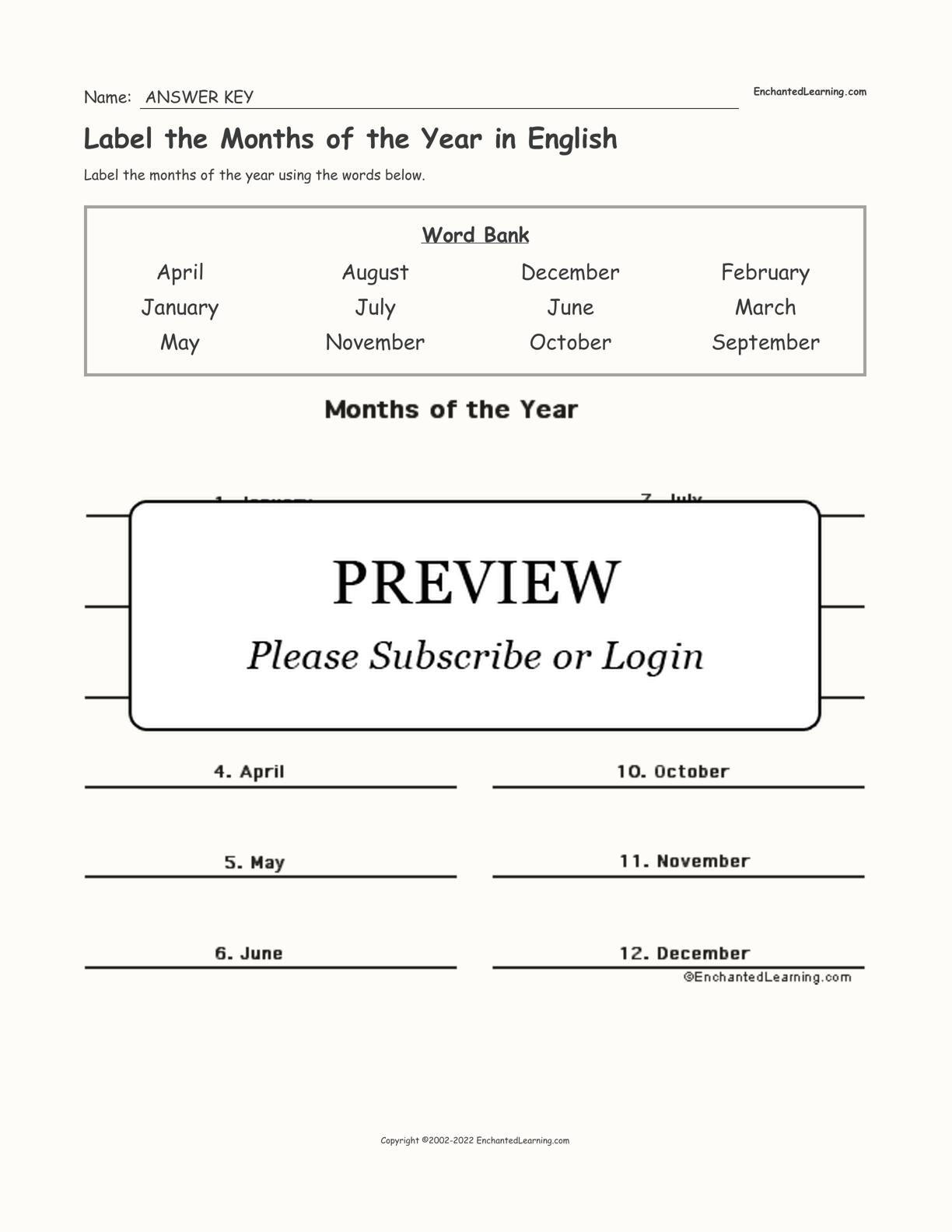 Label the Months of the Year in English interactive worksheet page 2