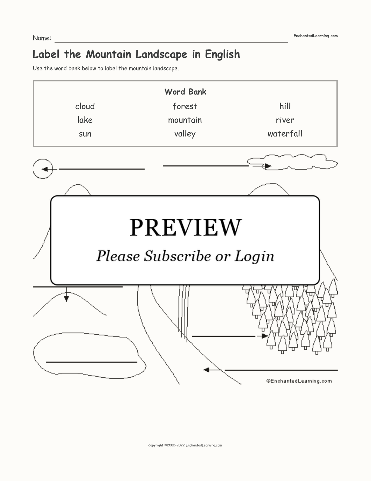 Label the Mountain Landscape in English interactive worksheet page 1