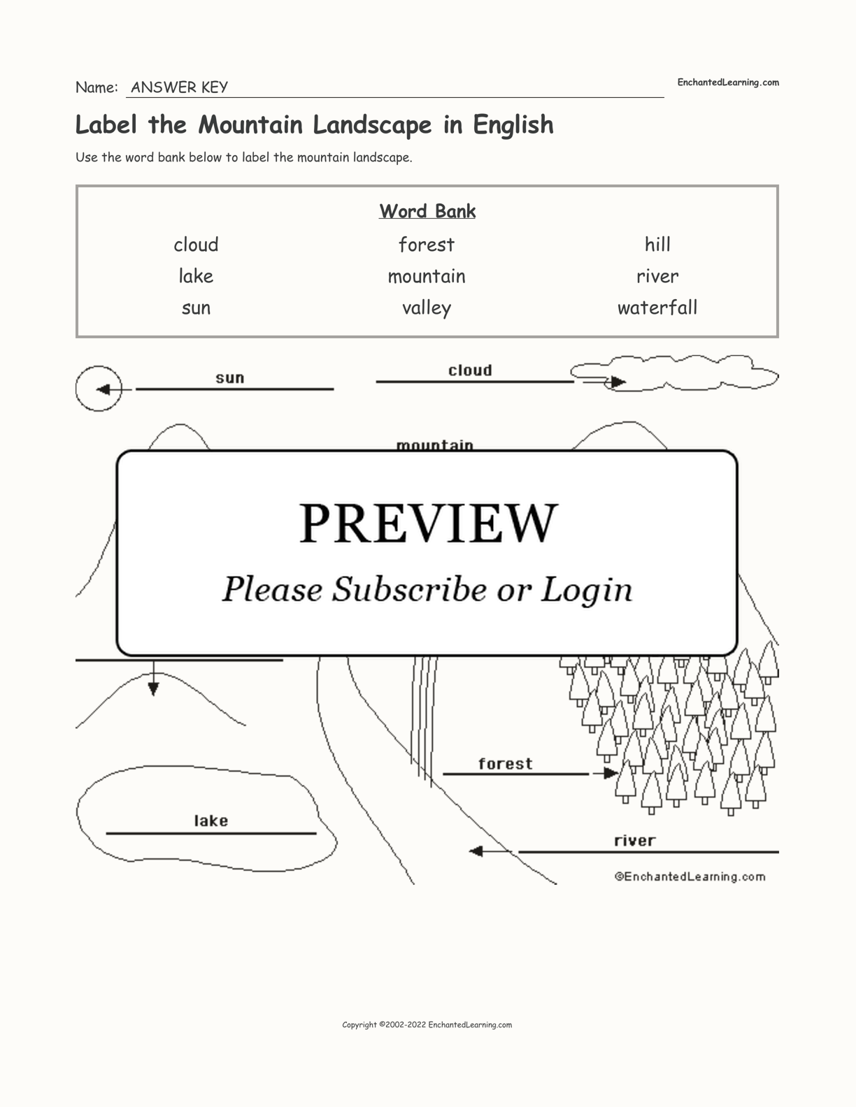 Label the Mountain Landscape in English interactive worksheet page 2