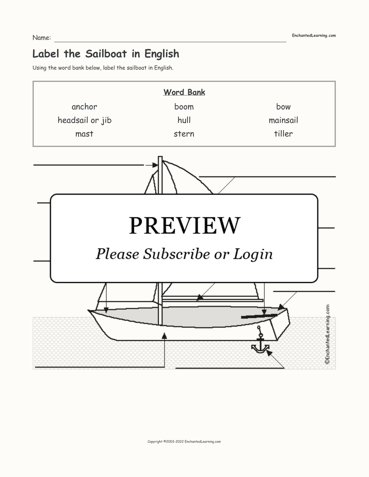 Label the Sailboat in English interactive worksheet page 1