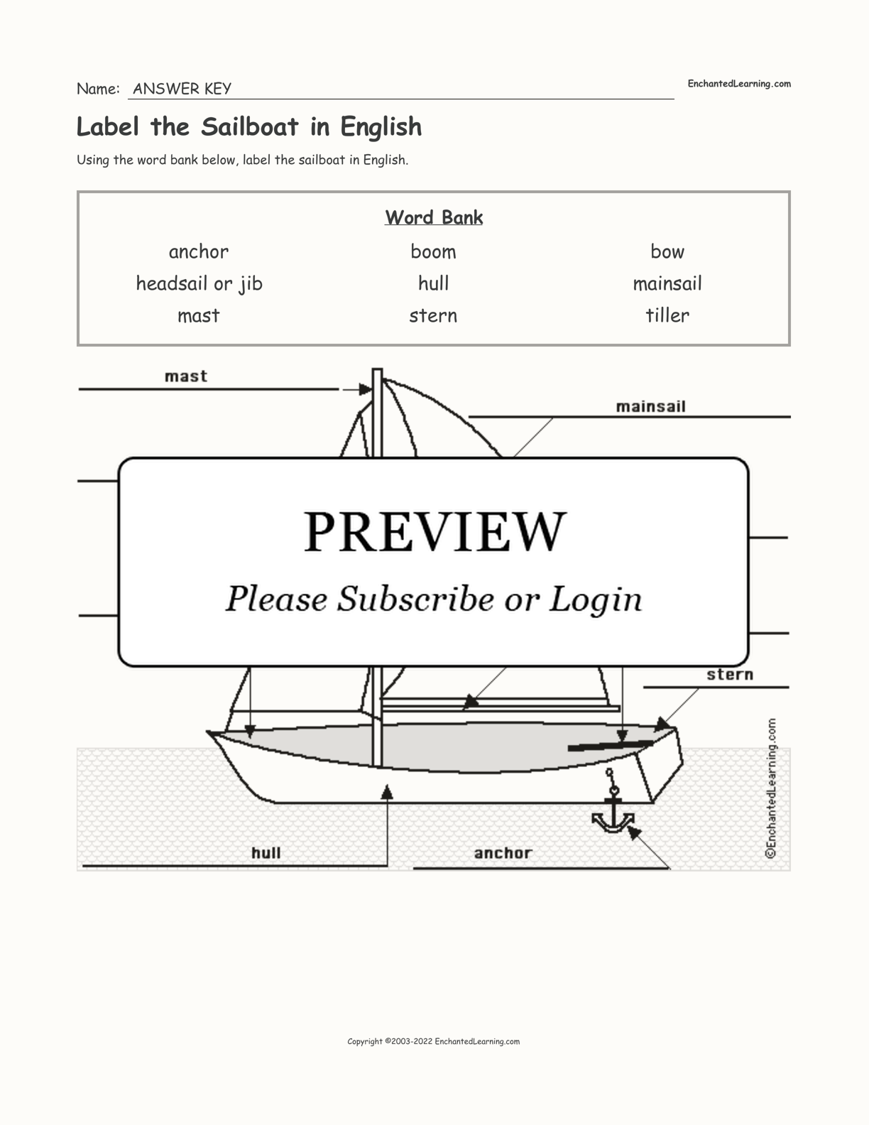 Label the Sailboat in English interactive worksheet page 2
