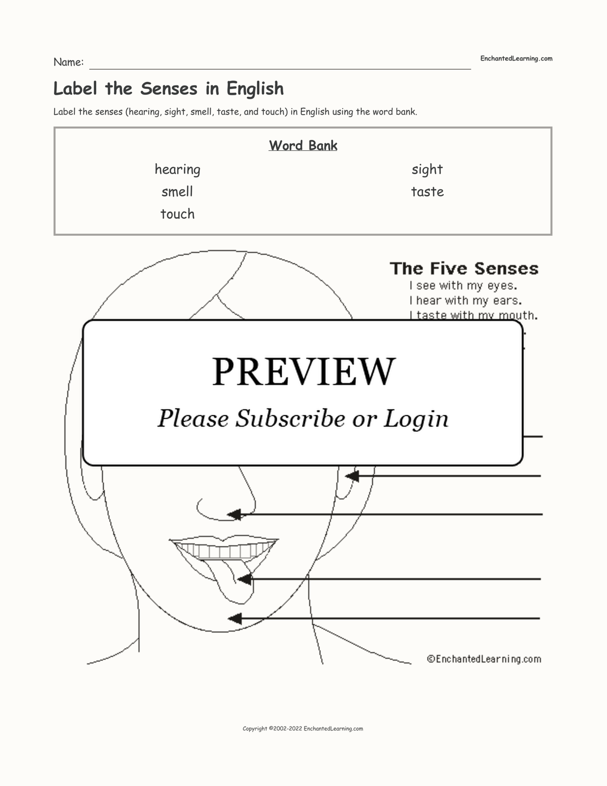 Label the Senses in English interactive worksheet page 1