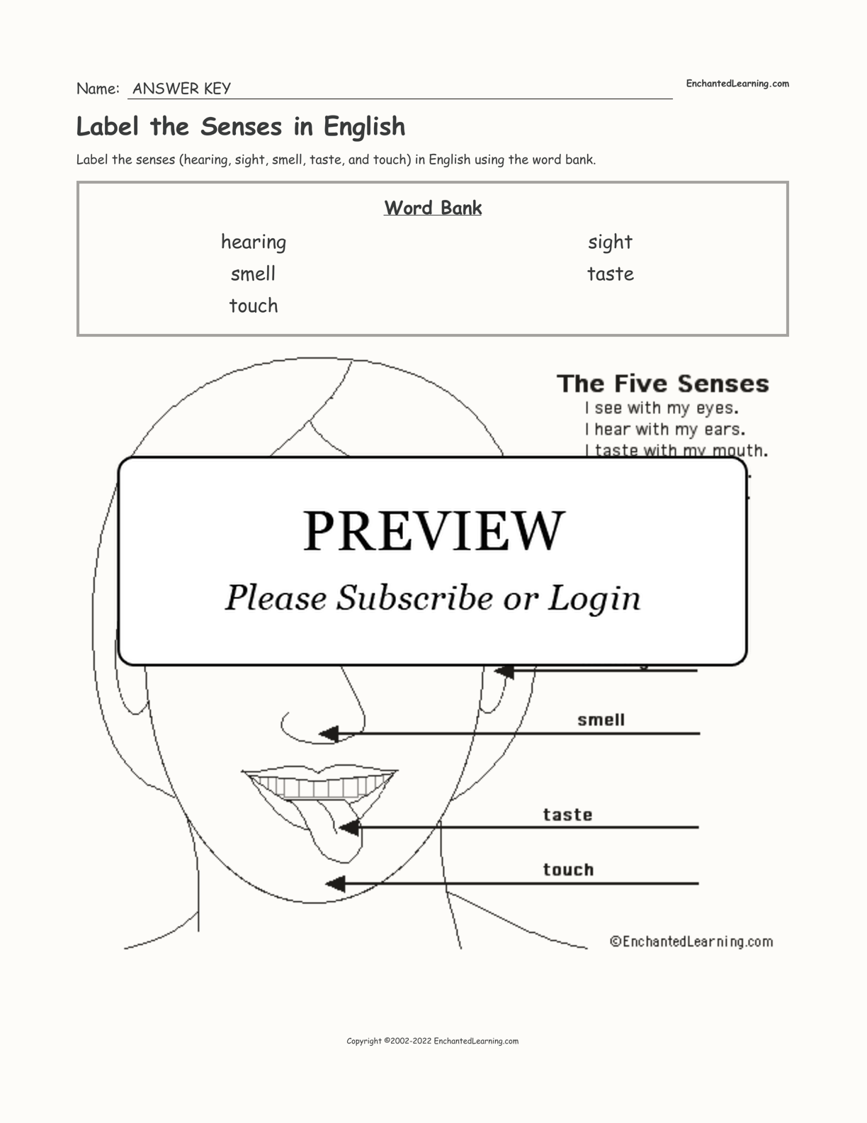 Label the Senses in English interactive worksheet page 2