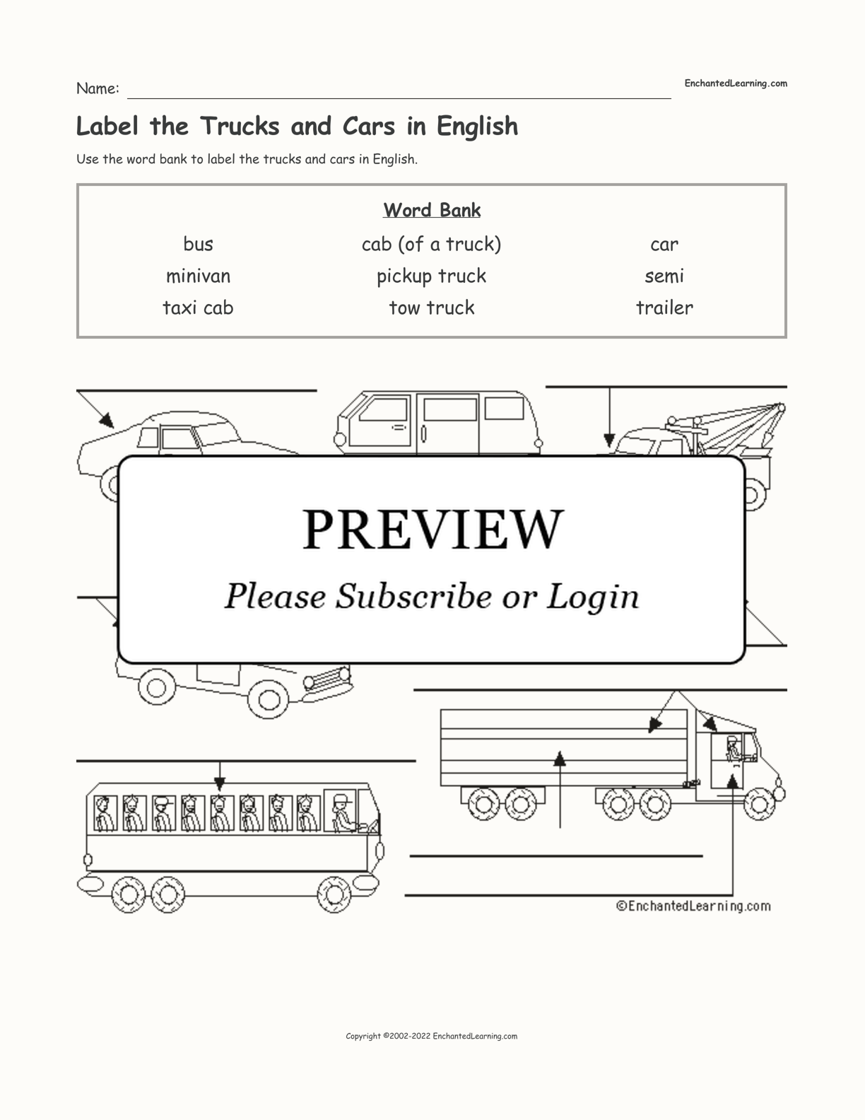 Label the Trucks and Cars in English interactive worksheet page 1