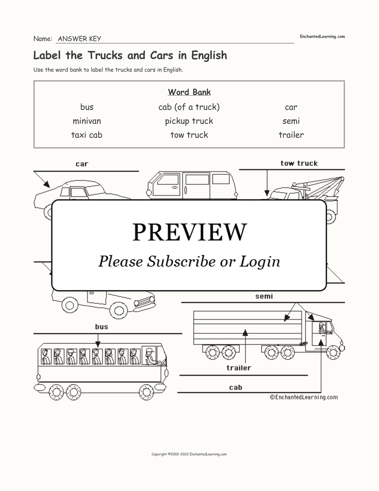 Label the Trucks and Cars in English interactive worksheet page 2