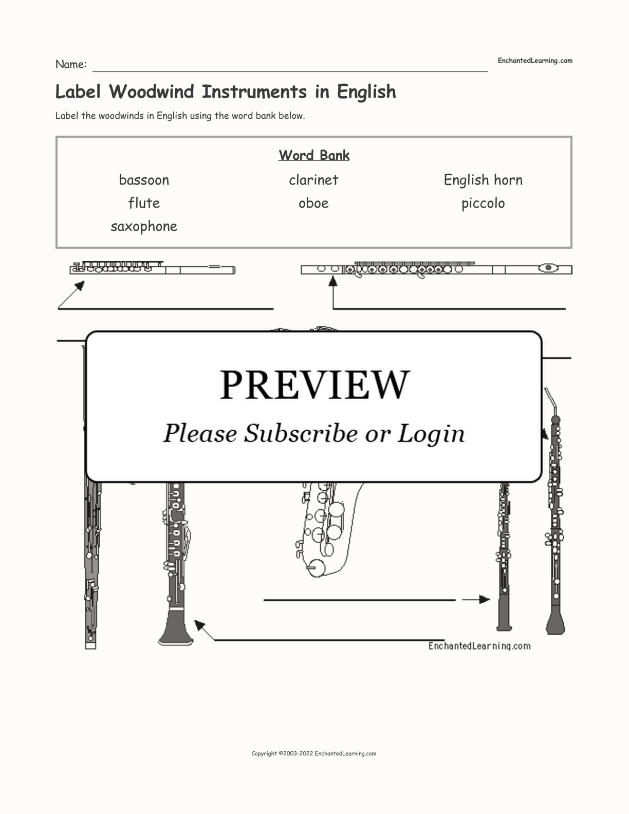 Label Woodwind Instruments in English interactive worksheet page 1