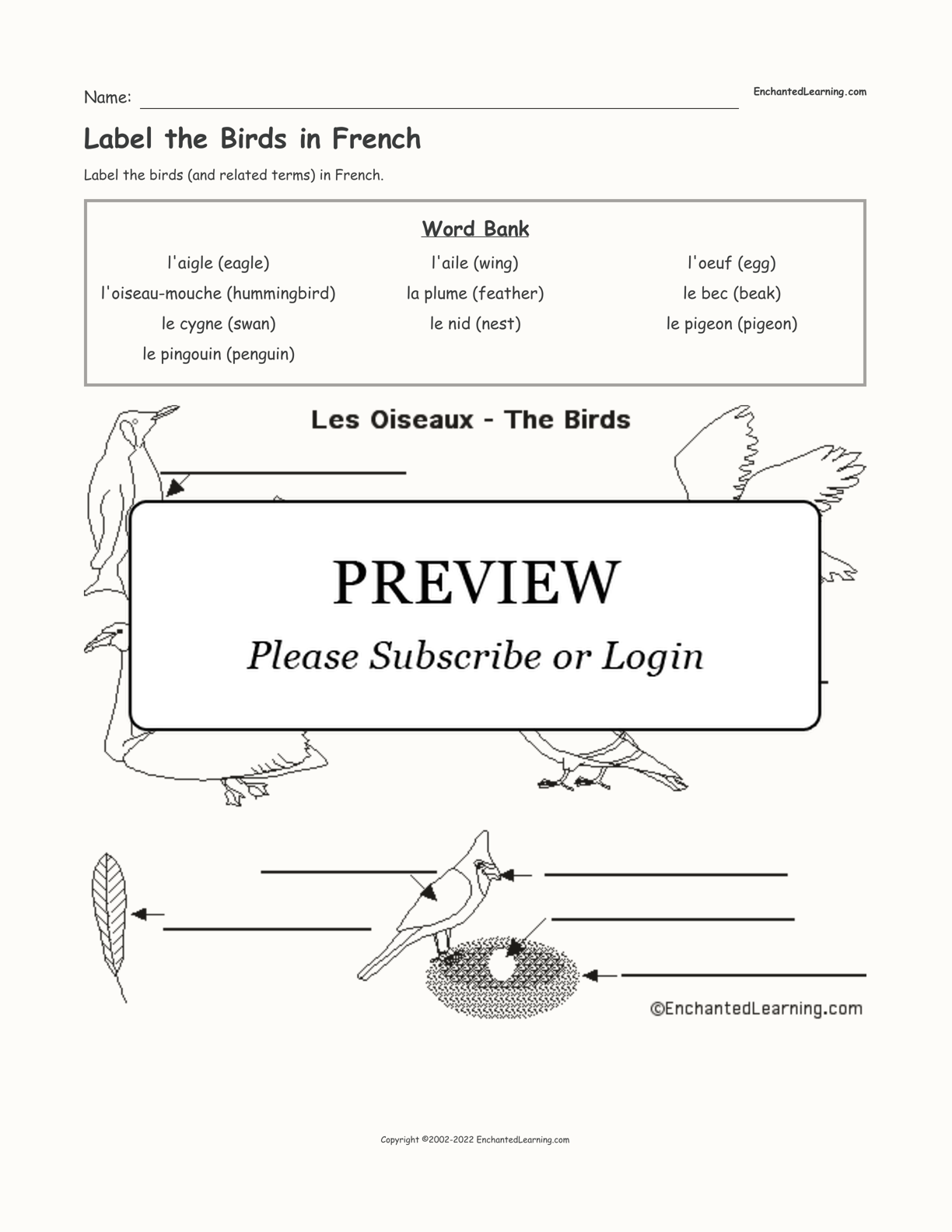 Label the Birds in French interactive worksheet page 1