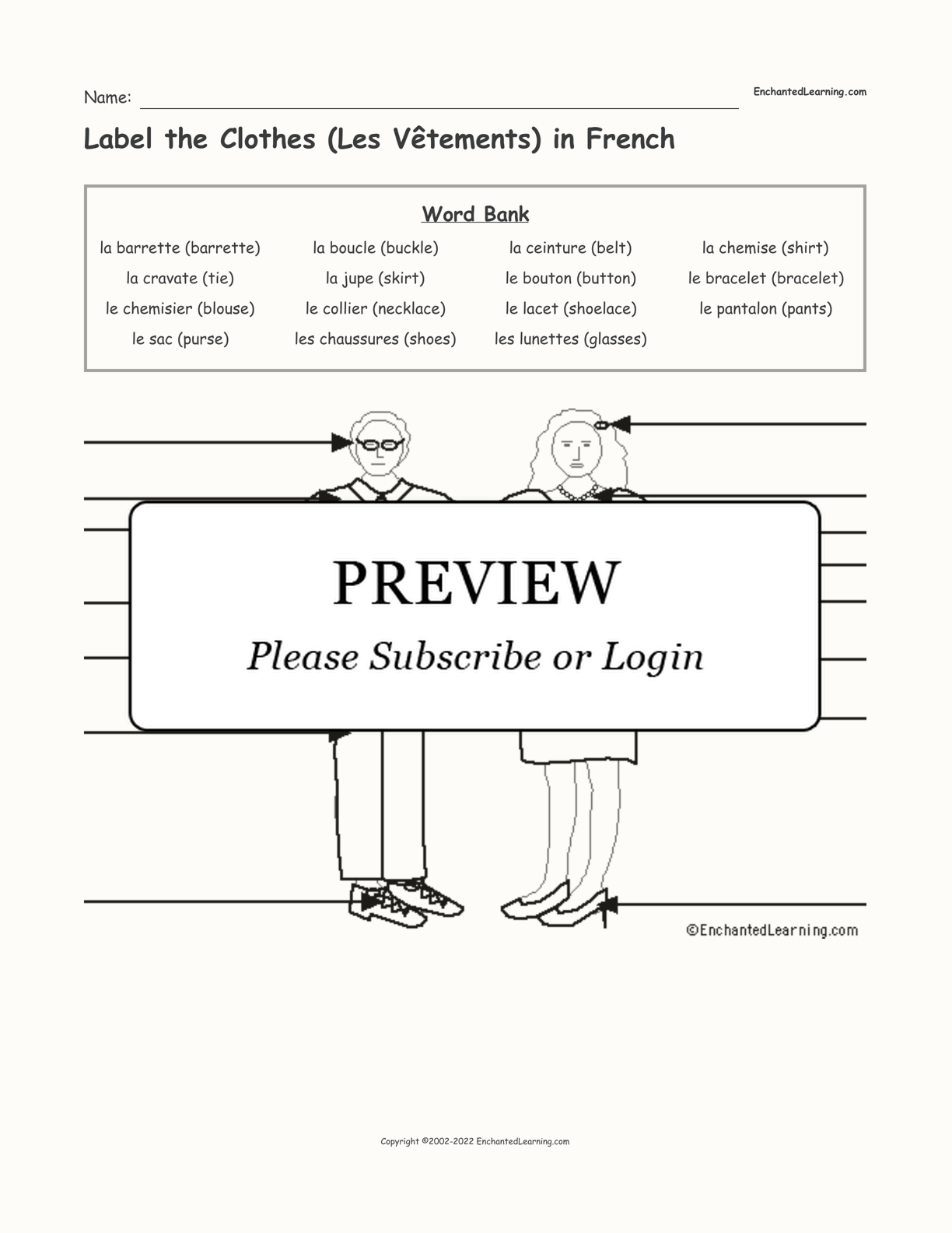 Label the Clothes (Les Vêtements) in French interactive worksheet page 1