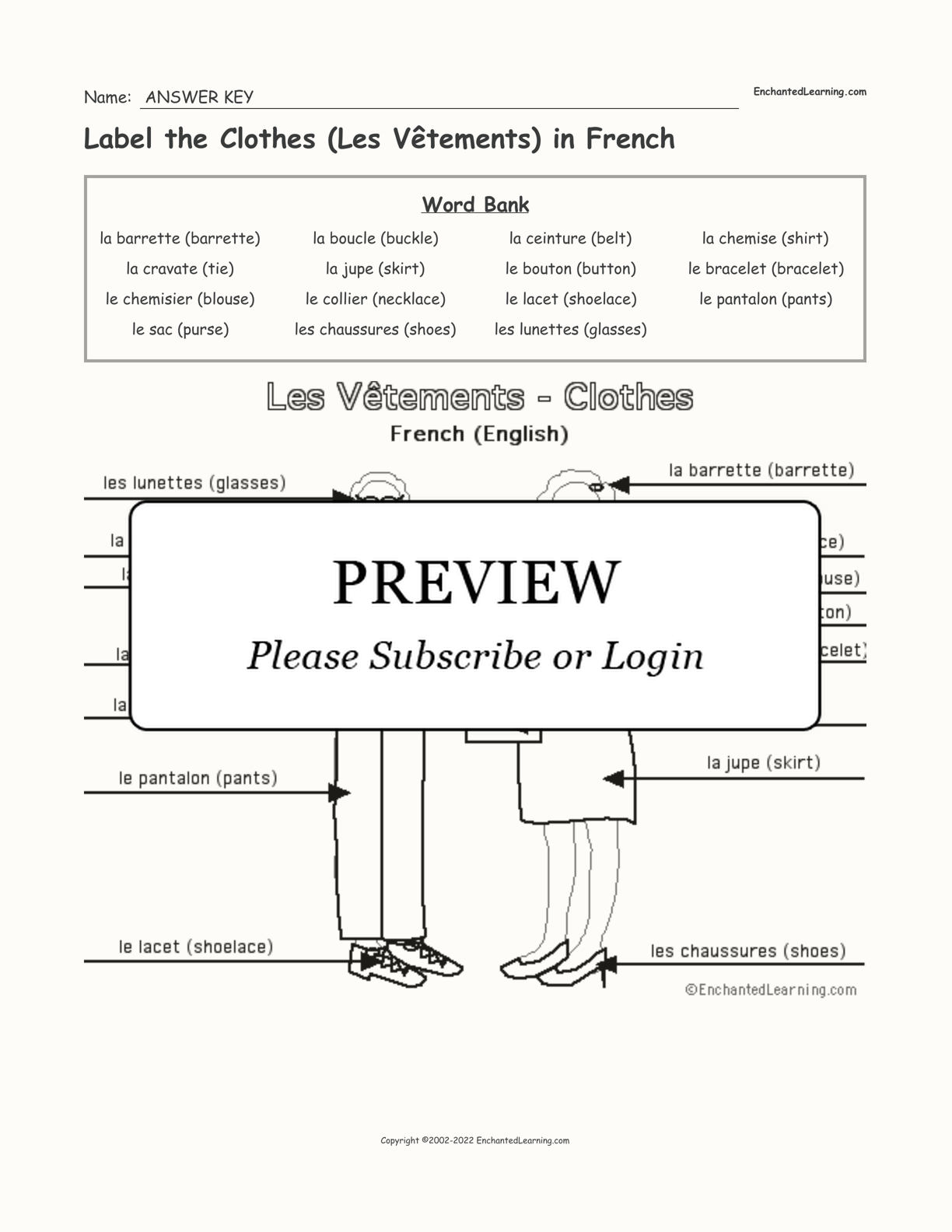 Label the Clothes (Les Vêtements) in French interactive worksheet page 2