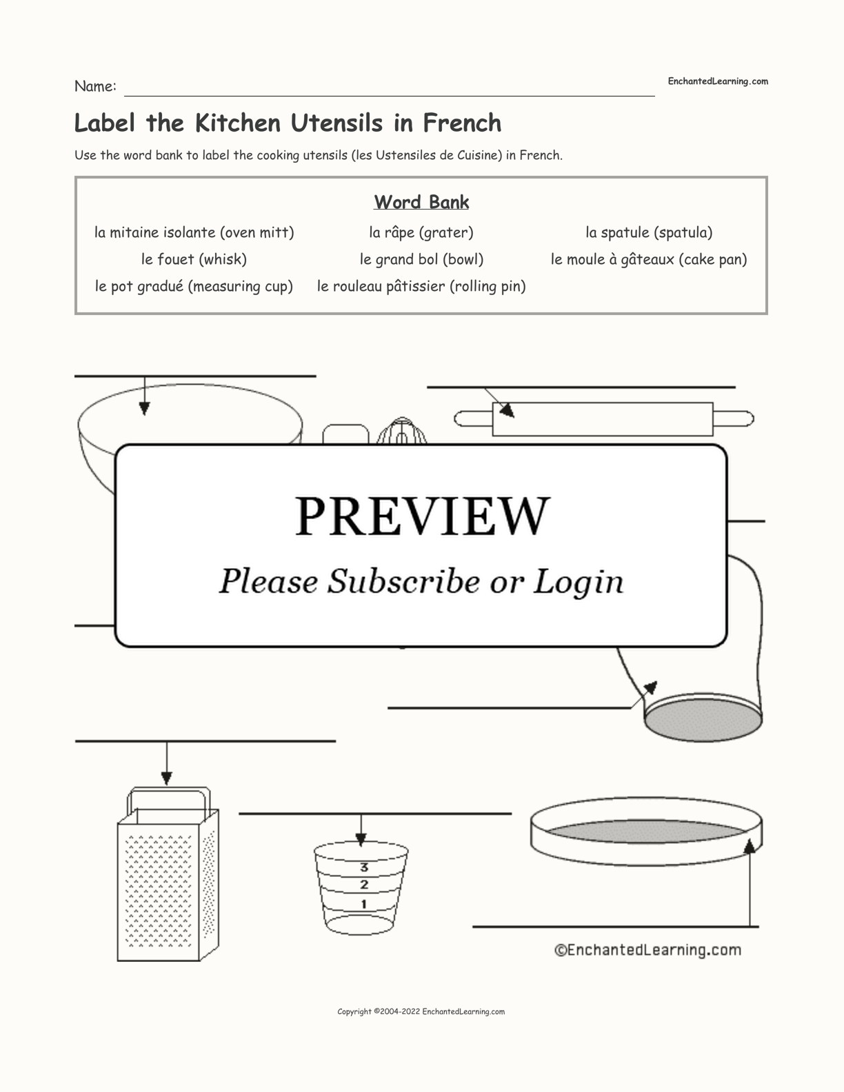 Label the Kitchen Utensils in French interactive worksheet page 1