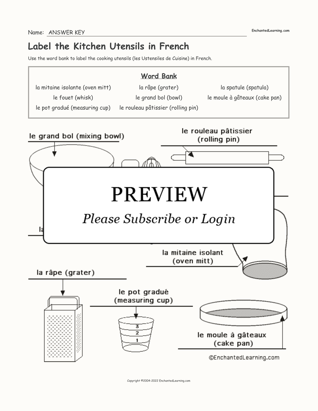 Label the Kitchen Utensils in French interactive worksheet page 2