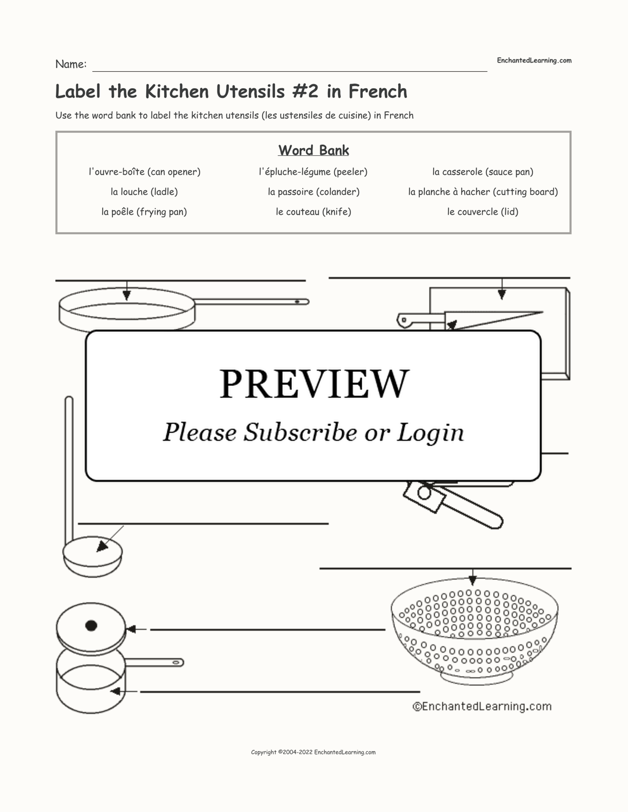 Label the Kitchen Utensils #2 in French interactive worksheet page 1