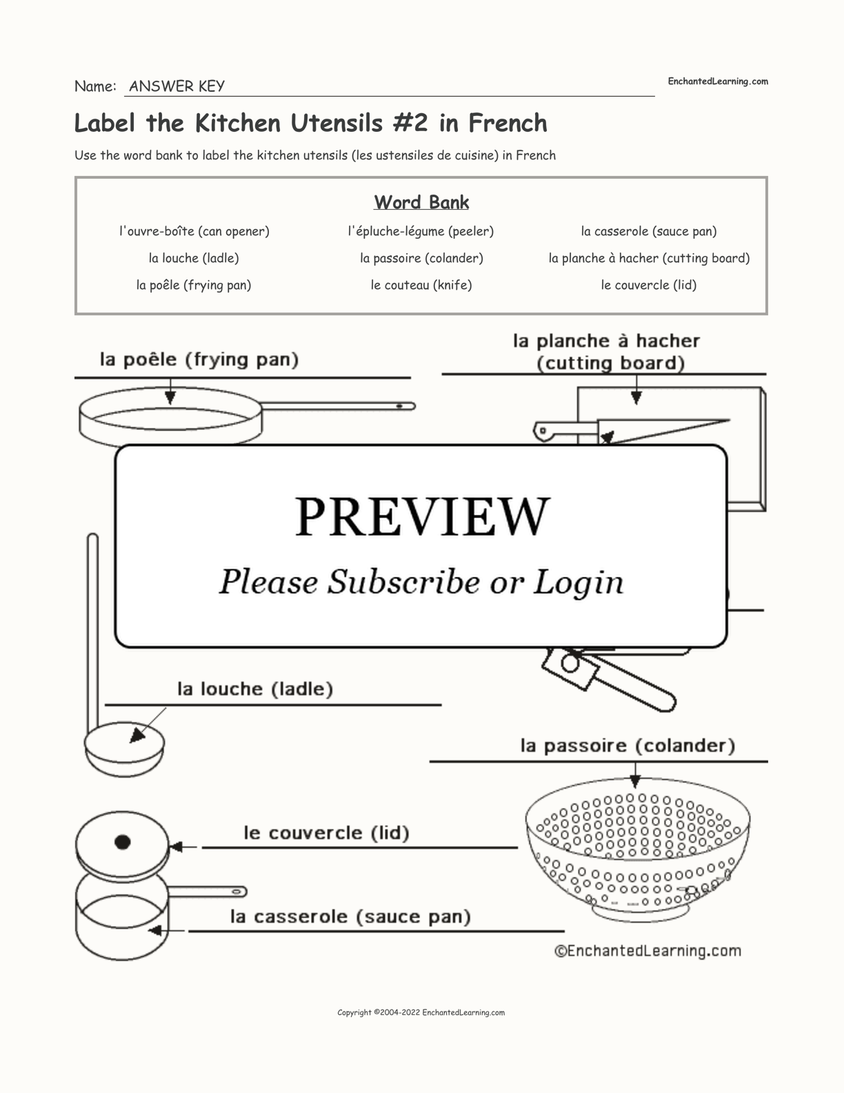 Label the Kitchen Utensils #2 in French interactive worksheet page 2