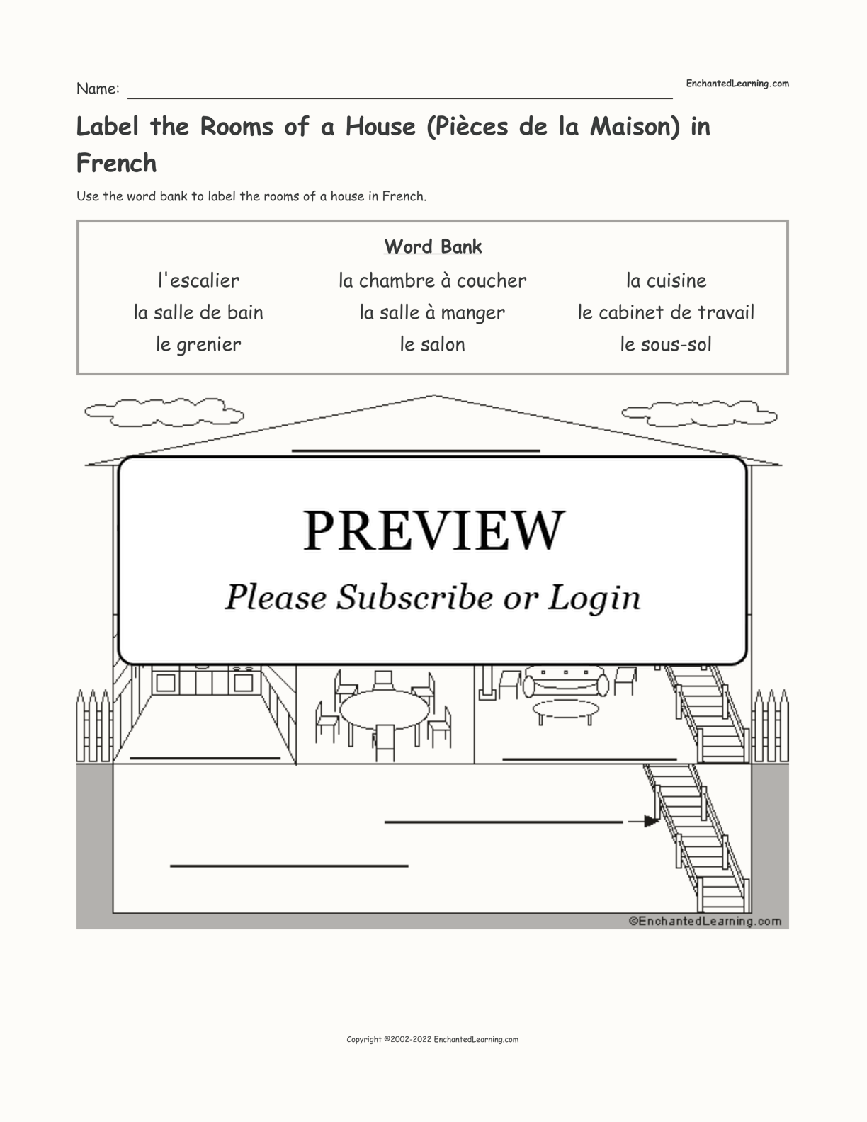 Label the Rooms of a House (Pièces de la Maison) in French interactive worksheet page 1