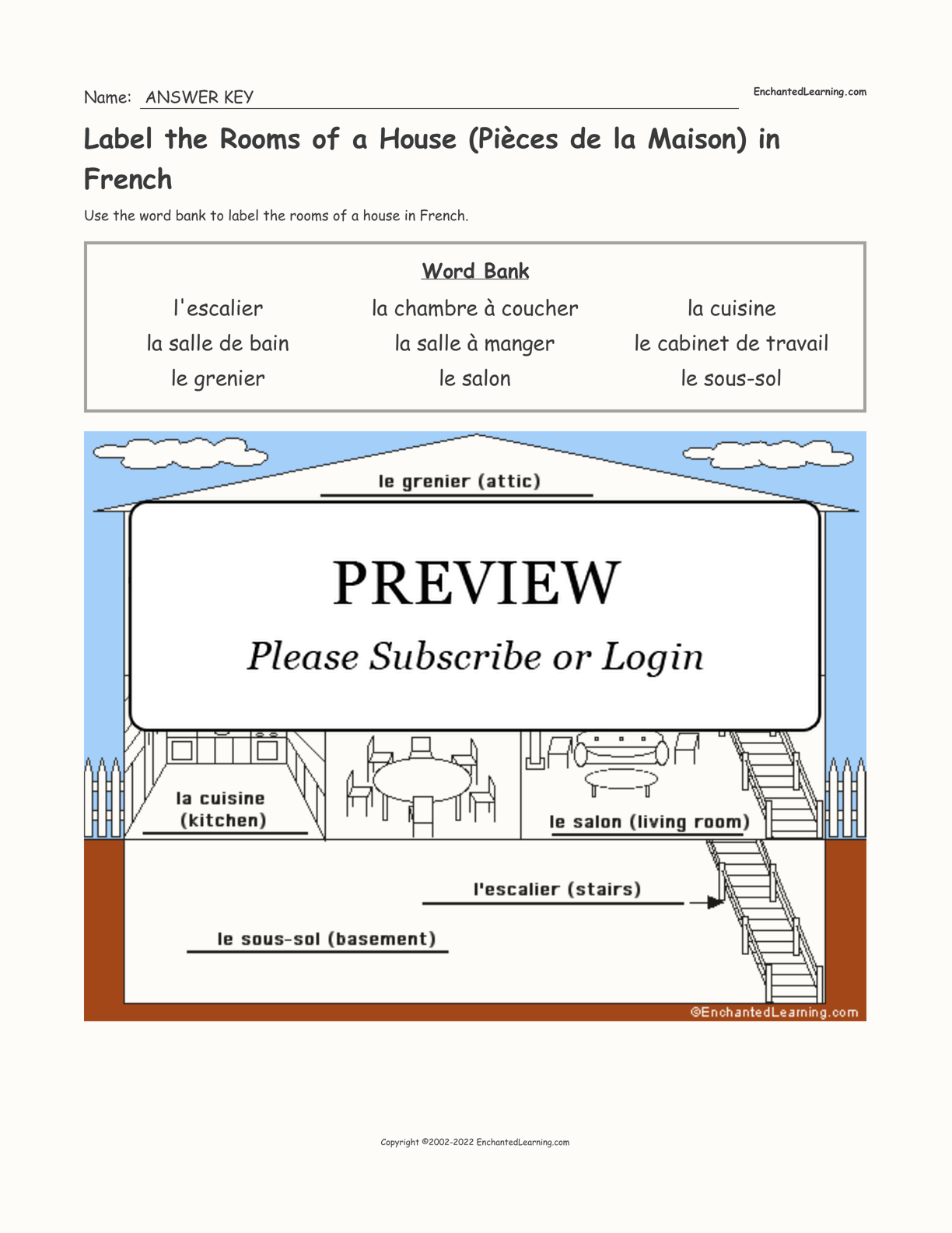 Label the Rooms of a House (Pièces de la Maison) in French interactive worksheet page 2