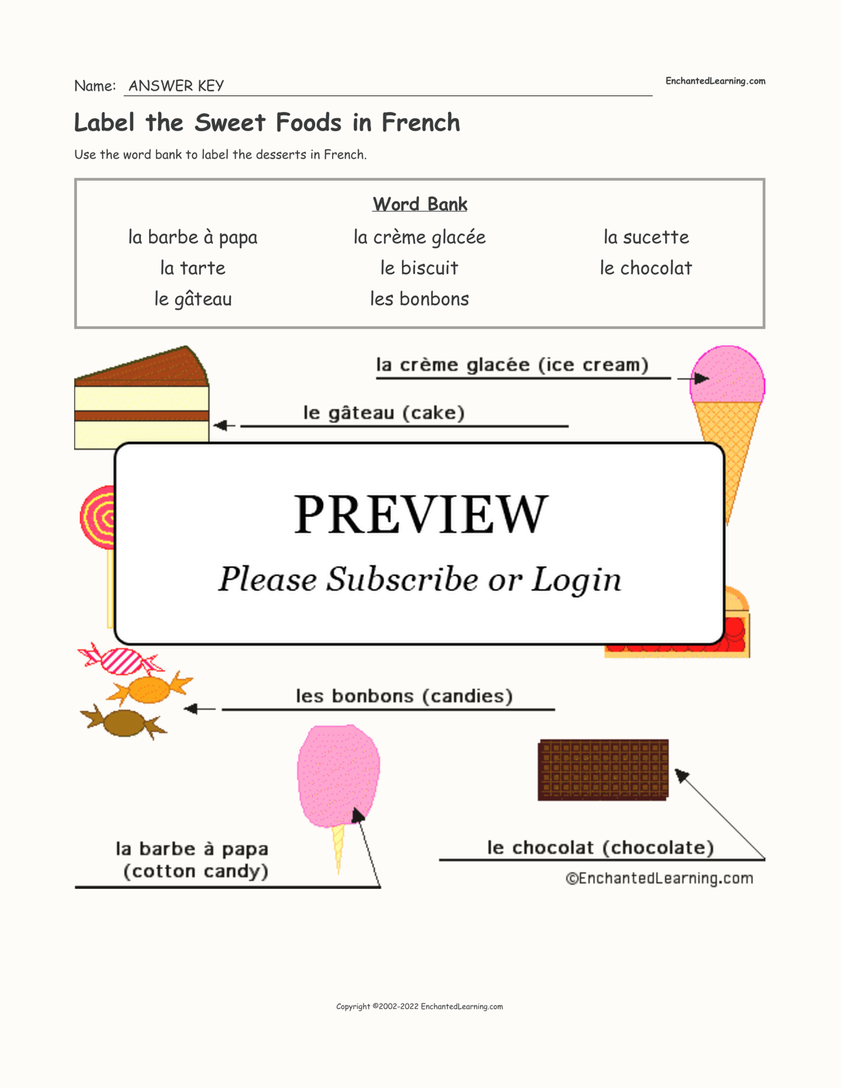 Label the Sweet Foods in French interactive worksheet page 2
