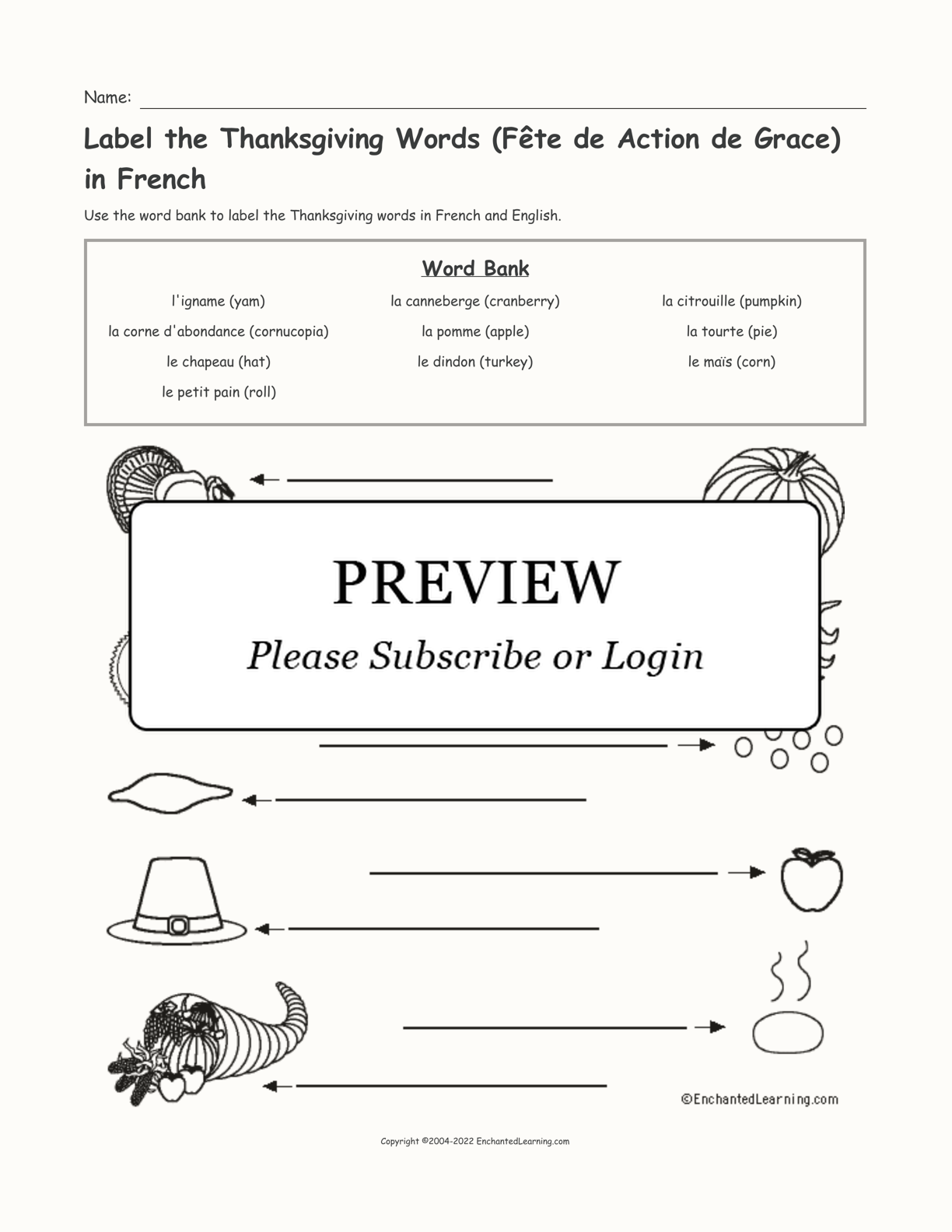 Label the Thanksgiving Words (Fête de Action de Grace) in French interactive worksheet page 1
