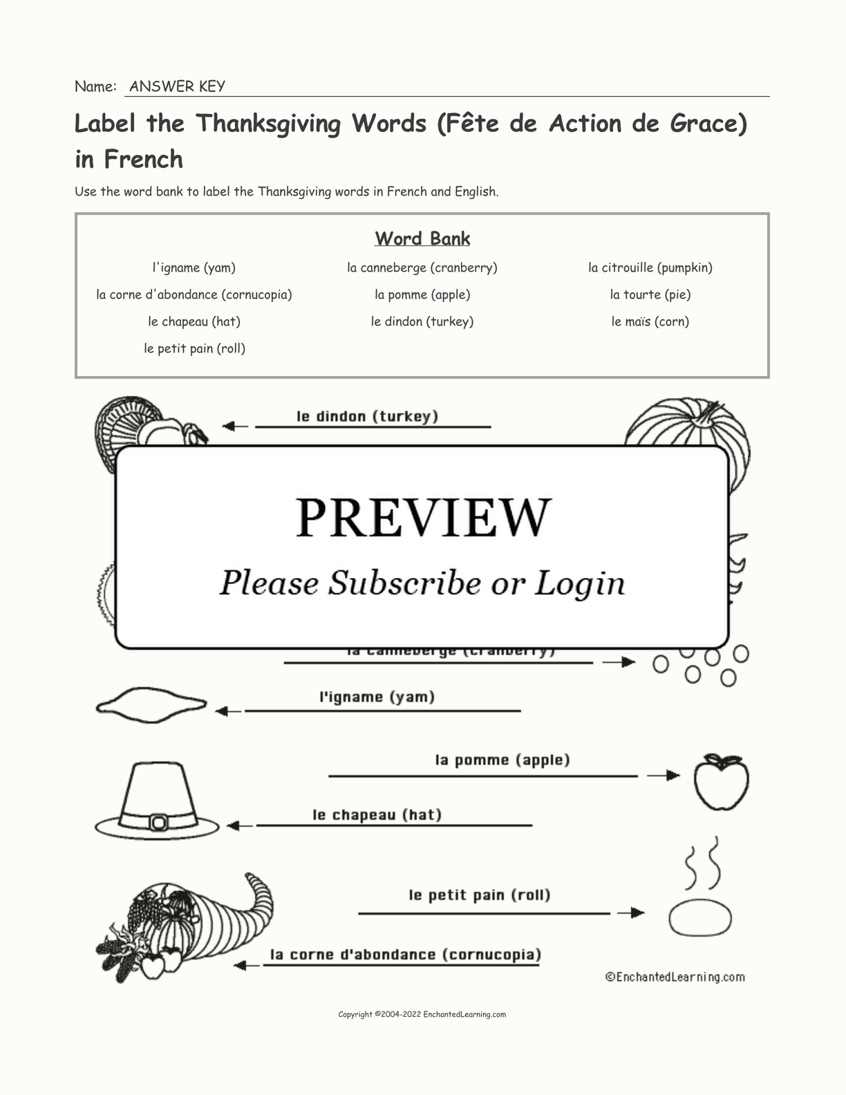 Label the Thanksgiving Words (Fête de Action de Grace) in French interactive worksheet page 2