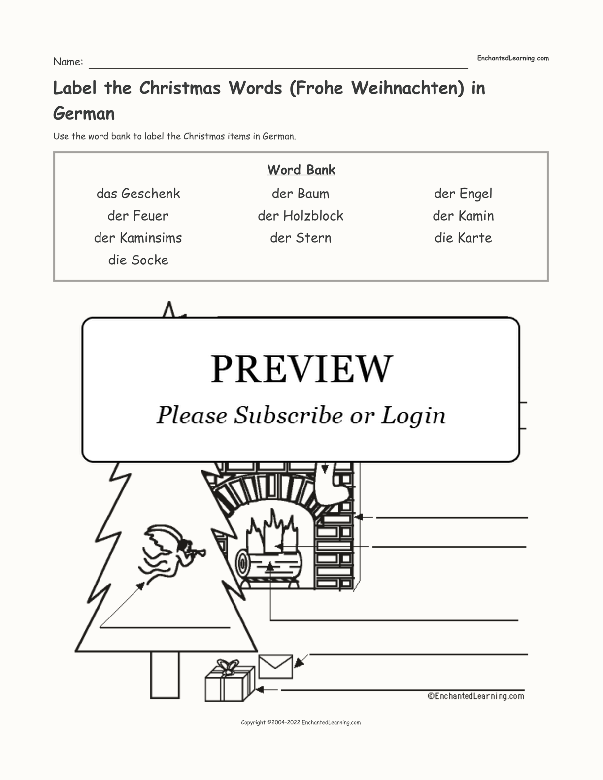 Label the Christmas Words (Frohe Weihnachten) in German interactive worksheet page 1