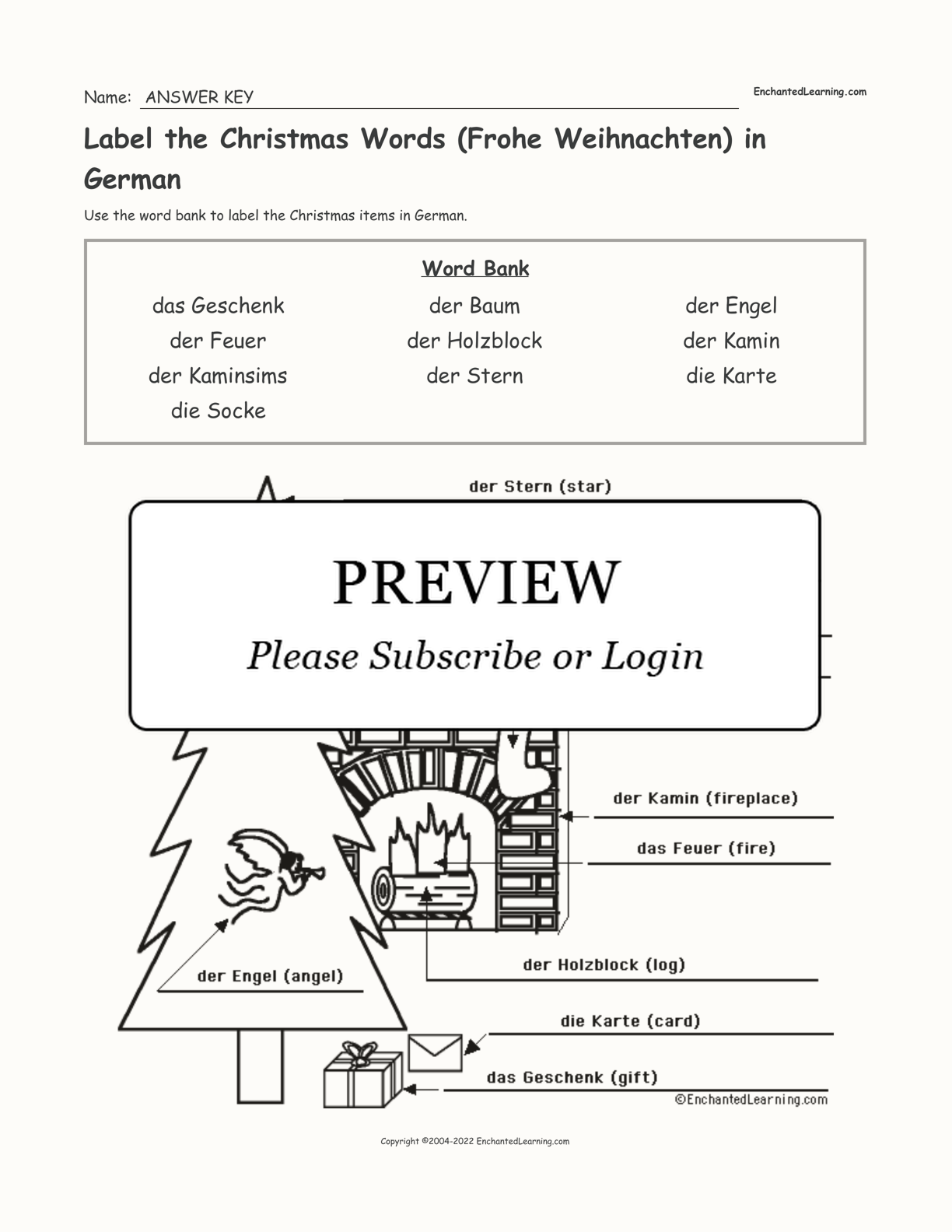 Label the Christmas Words (Frohe Weihnachten) in German interactive worksheet page 2