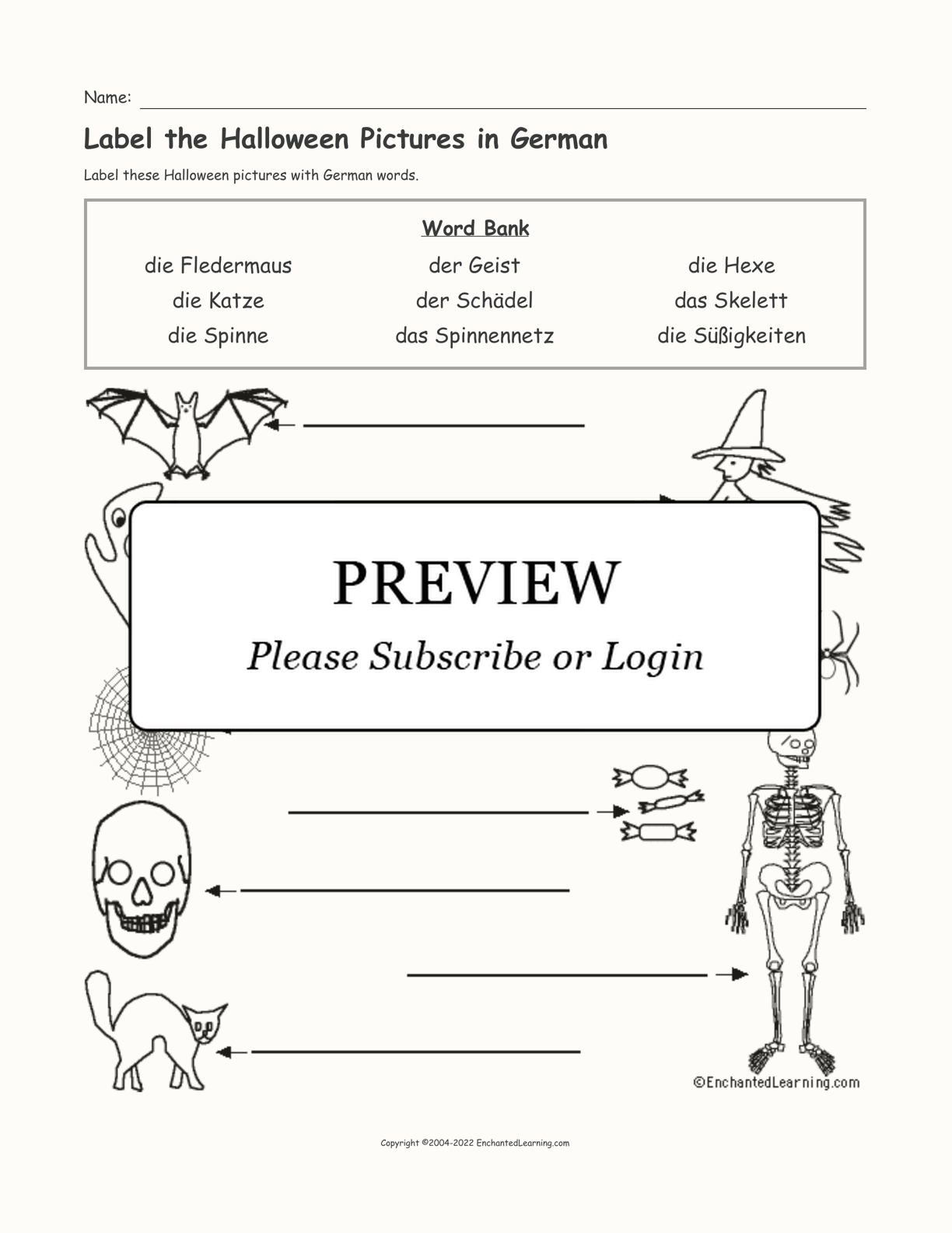 Label the Halloween Pictures in German interactive worksheet page 1
