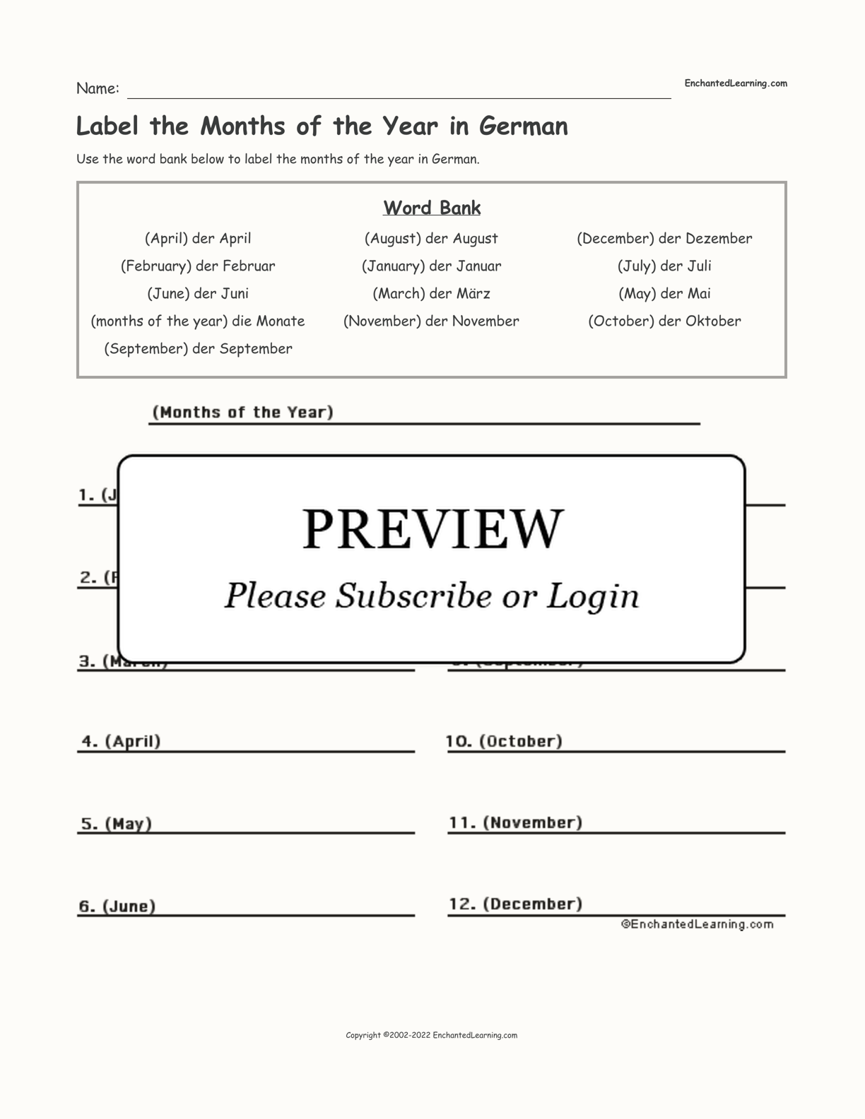 Label the Months of the Year in German interactive worksheet page 1