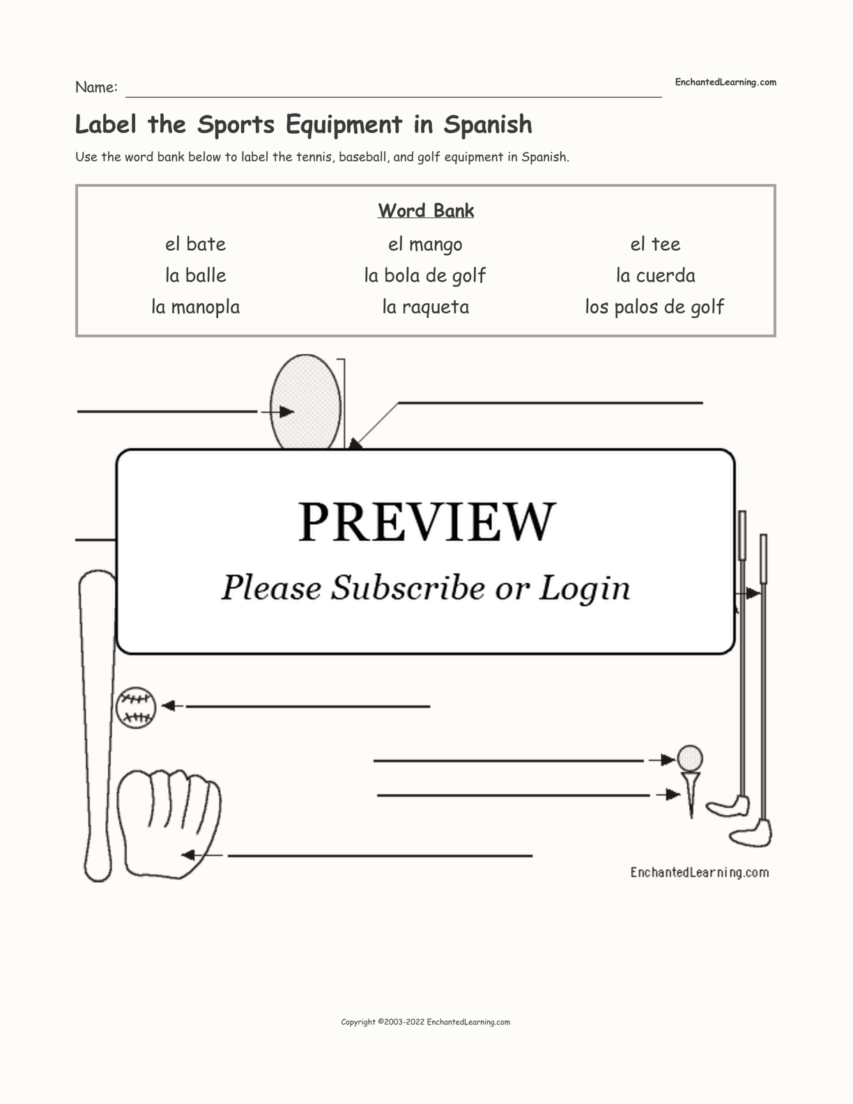 Label the Sports Equipment in Spanish interactive worksheet page 1