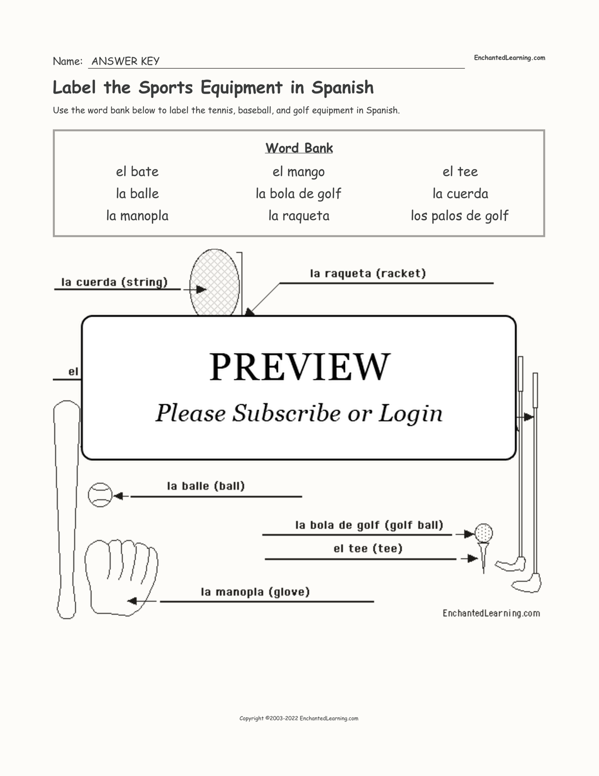 Label the Sports Equipment in Spanish interactive worksheet page 2