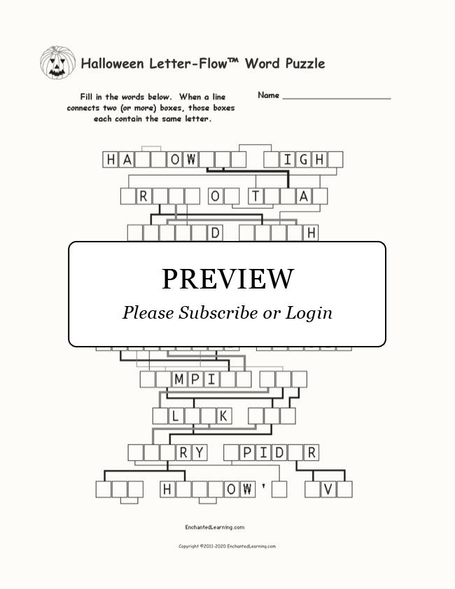 Halloween Letter Flow Printable Word Puzzle Enchanted