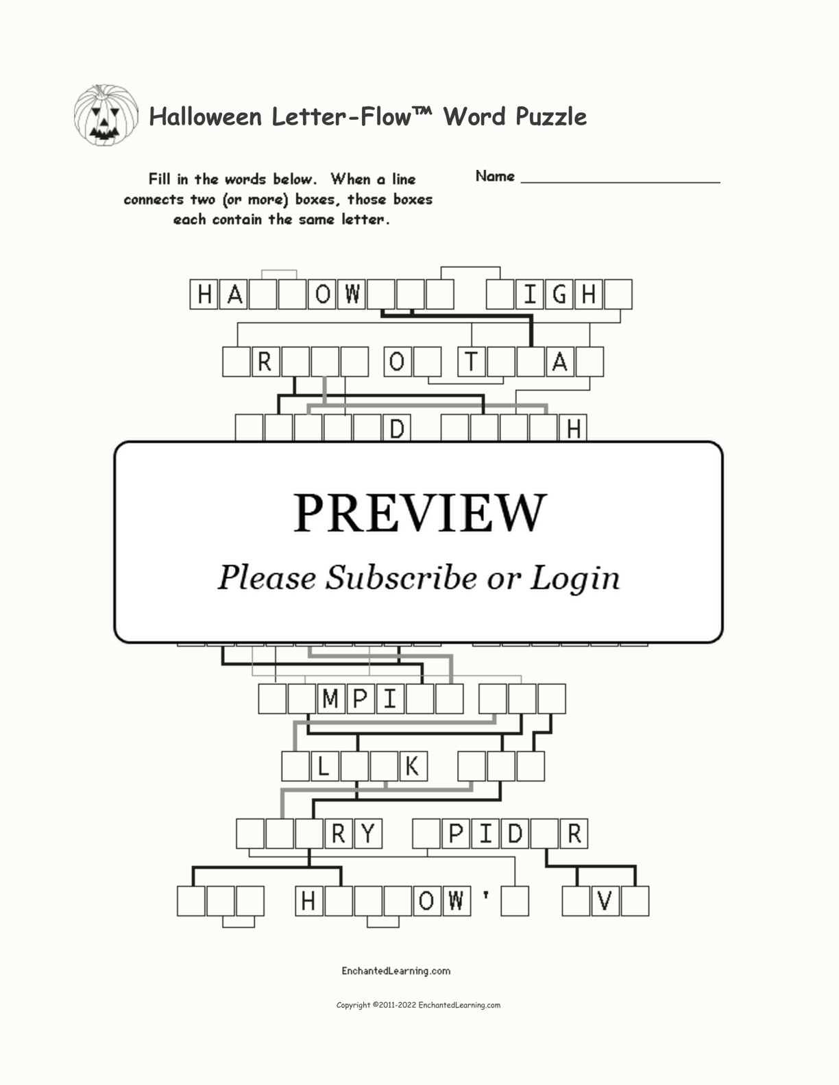 Halloween Letter-Flow™ Word Puzzle interactive worksheet page 1