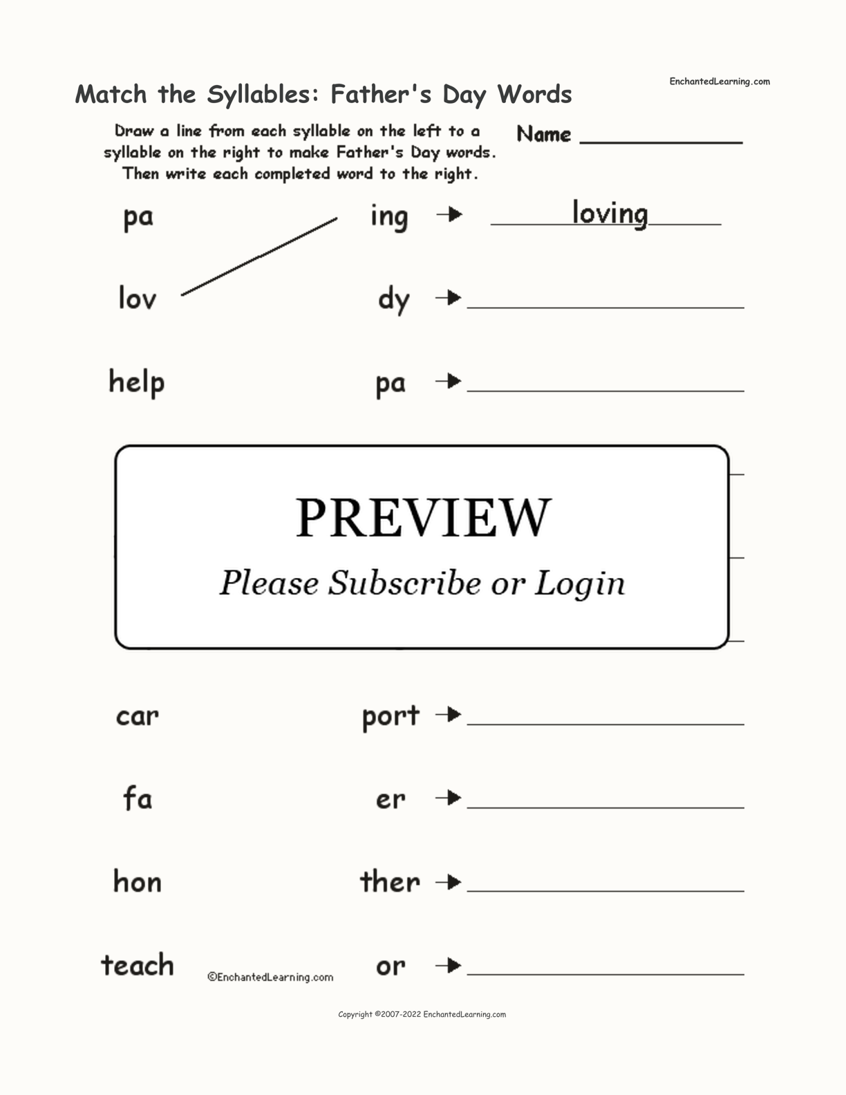 Match the Syllables: Father's Day Words interactive worksheet page 1
