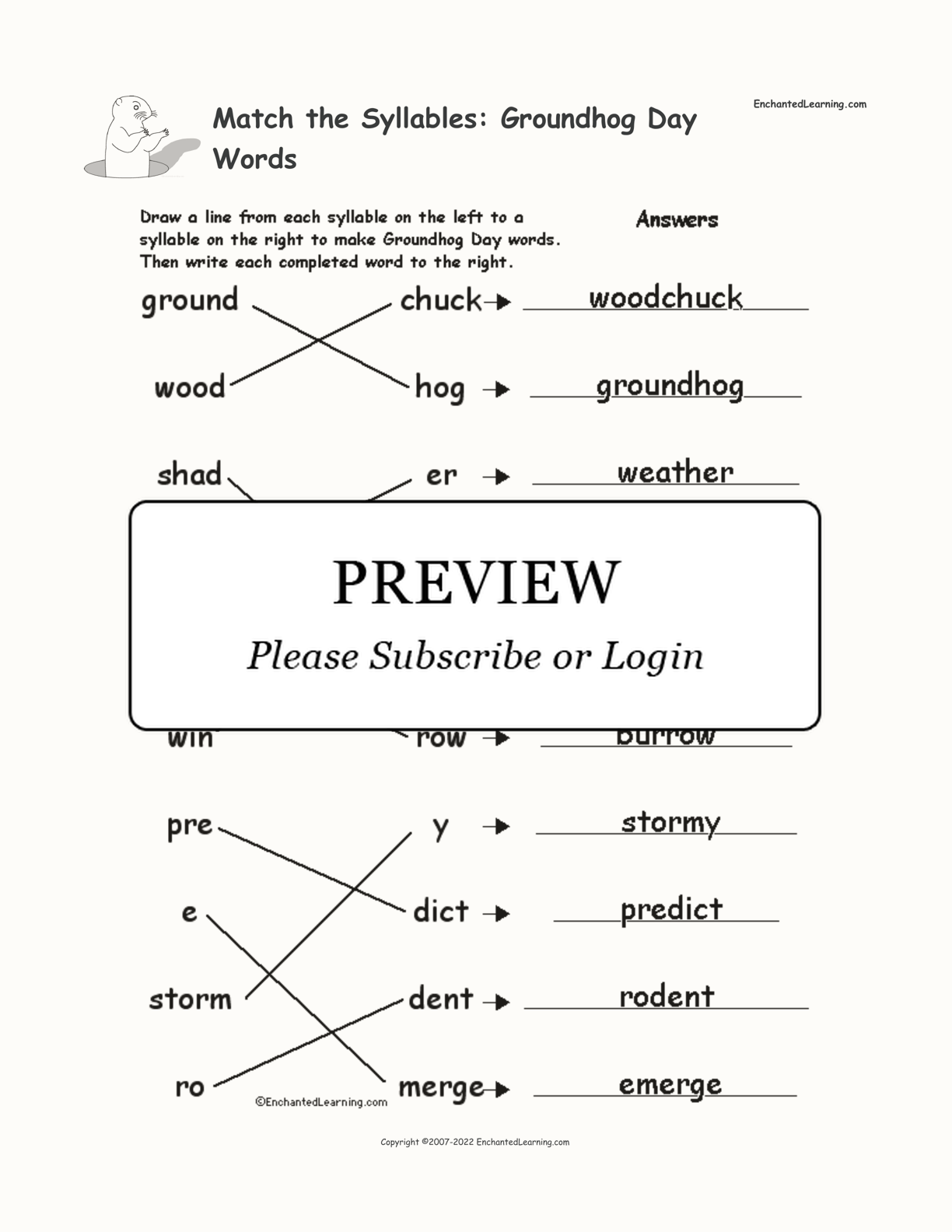 Match the Syllables: Groundhog Day Words interactive worksheet page 2