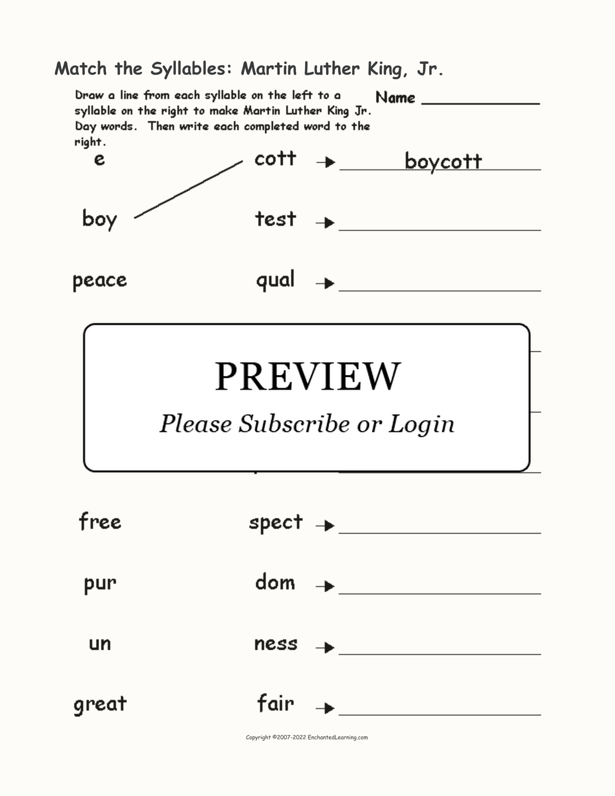 Match the Syllables: Martin Luther King, Jr. interactive worksheet page 1