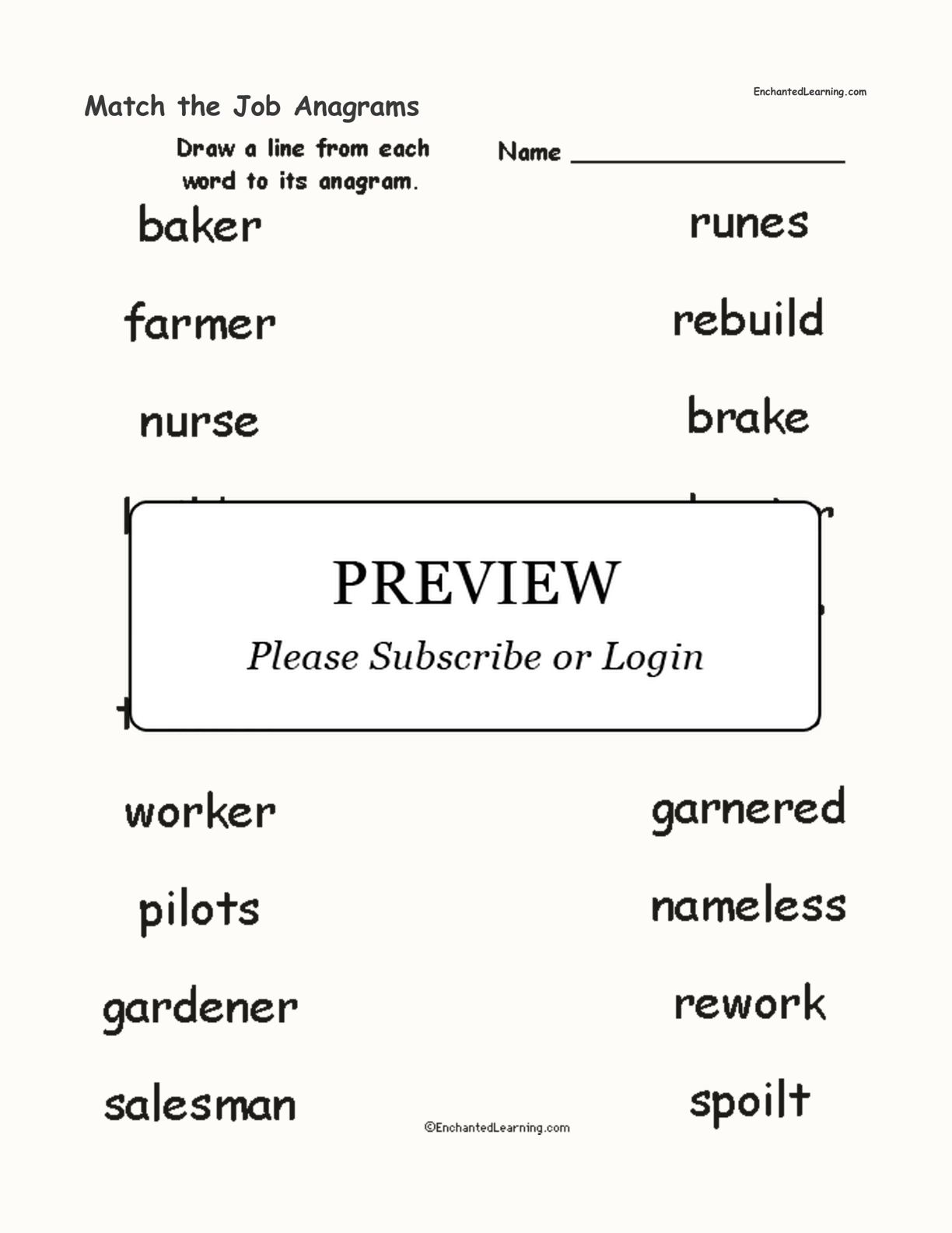 Match the Job Anagrams interactive worksheet page 1
