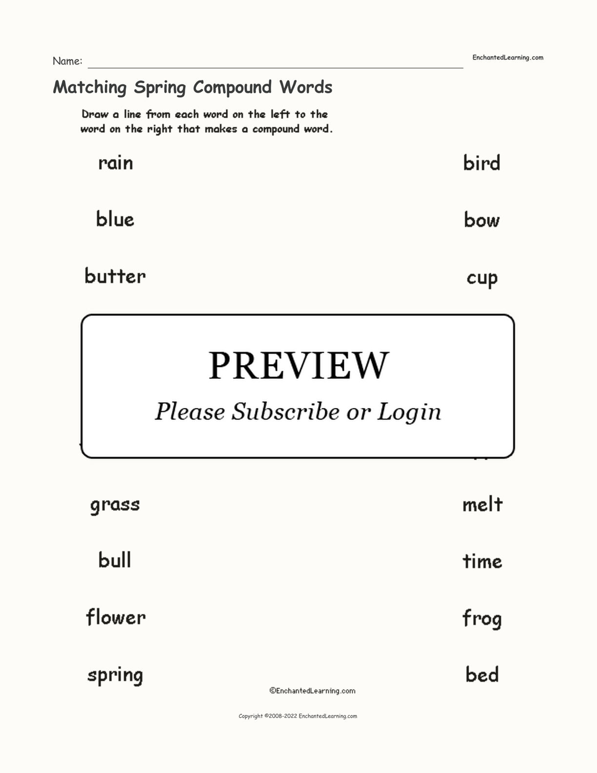 Matching Spring Compound Words interactive worksheet page 1