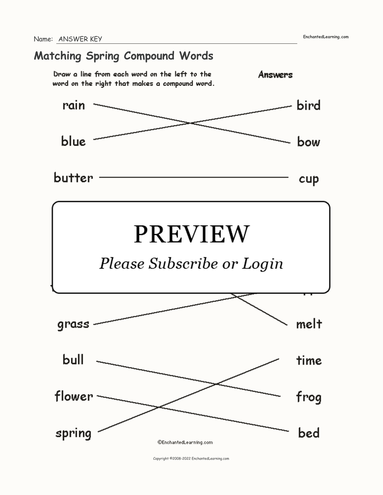 Matching Spring Compound Words interactive worksheet page 2
