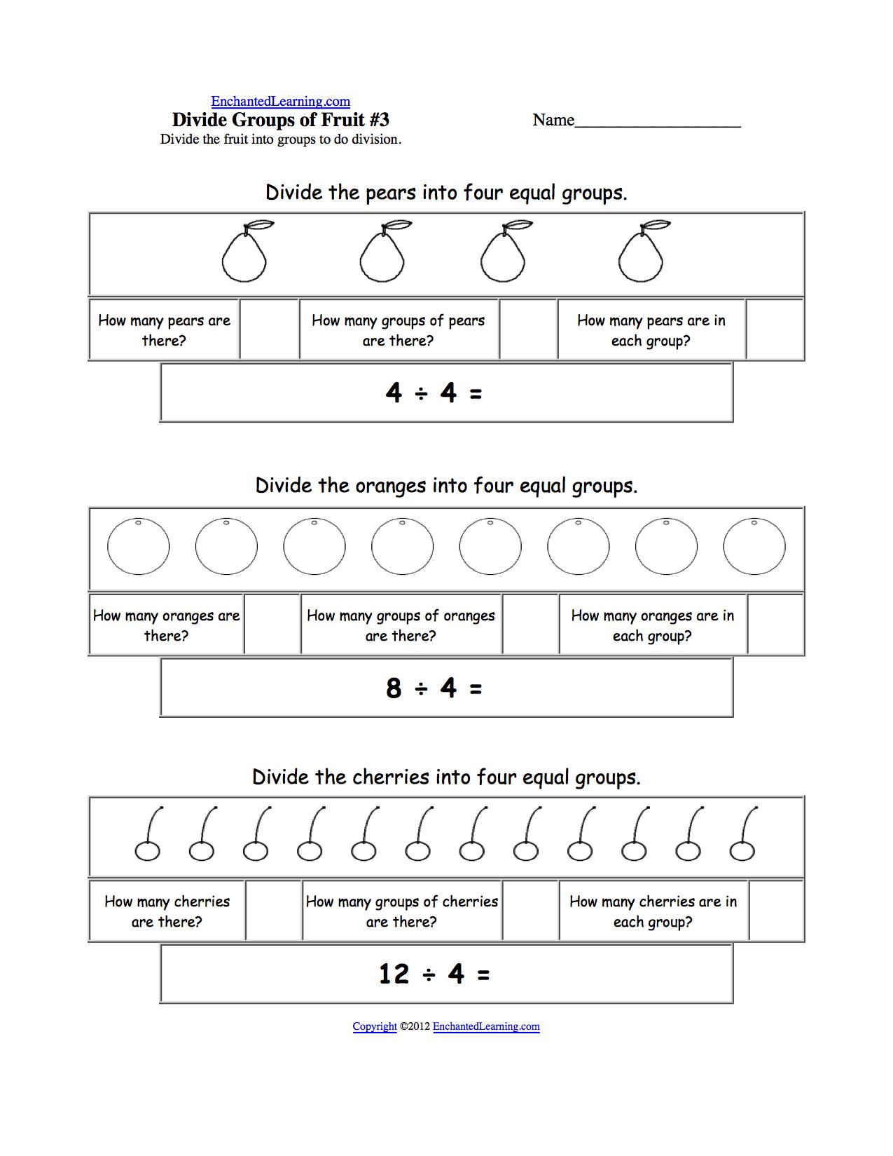 visual division printouts  enchantedlearningcom divide fruit into four groups